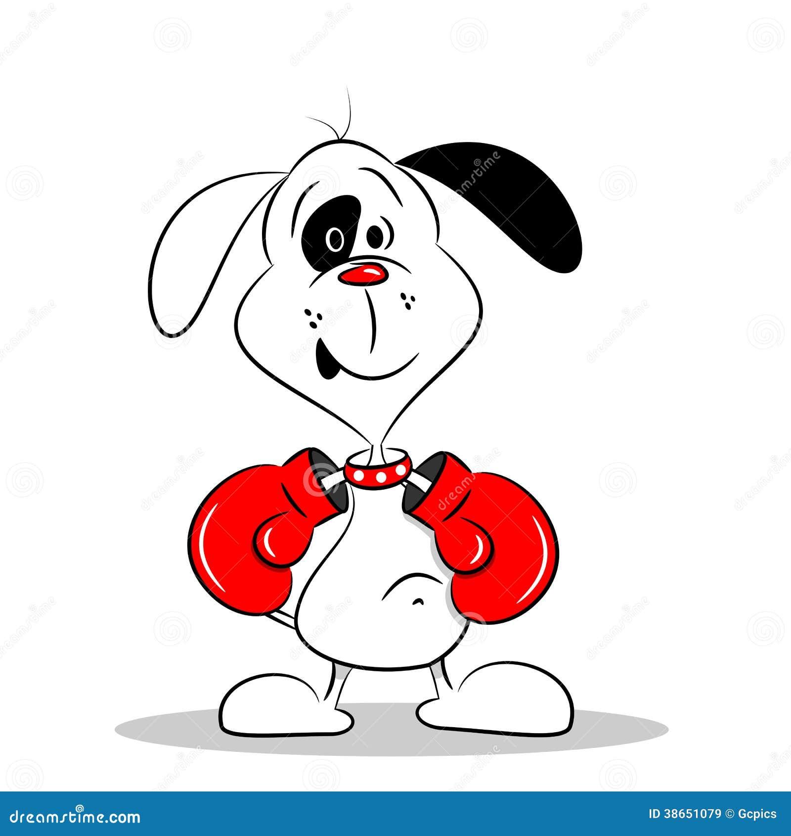 Chien de bande dessin e avec des gants de boxe images - Gant de boxe dessin ...