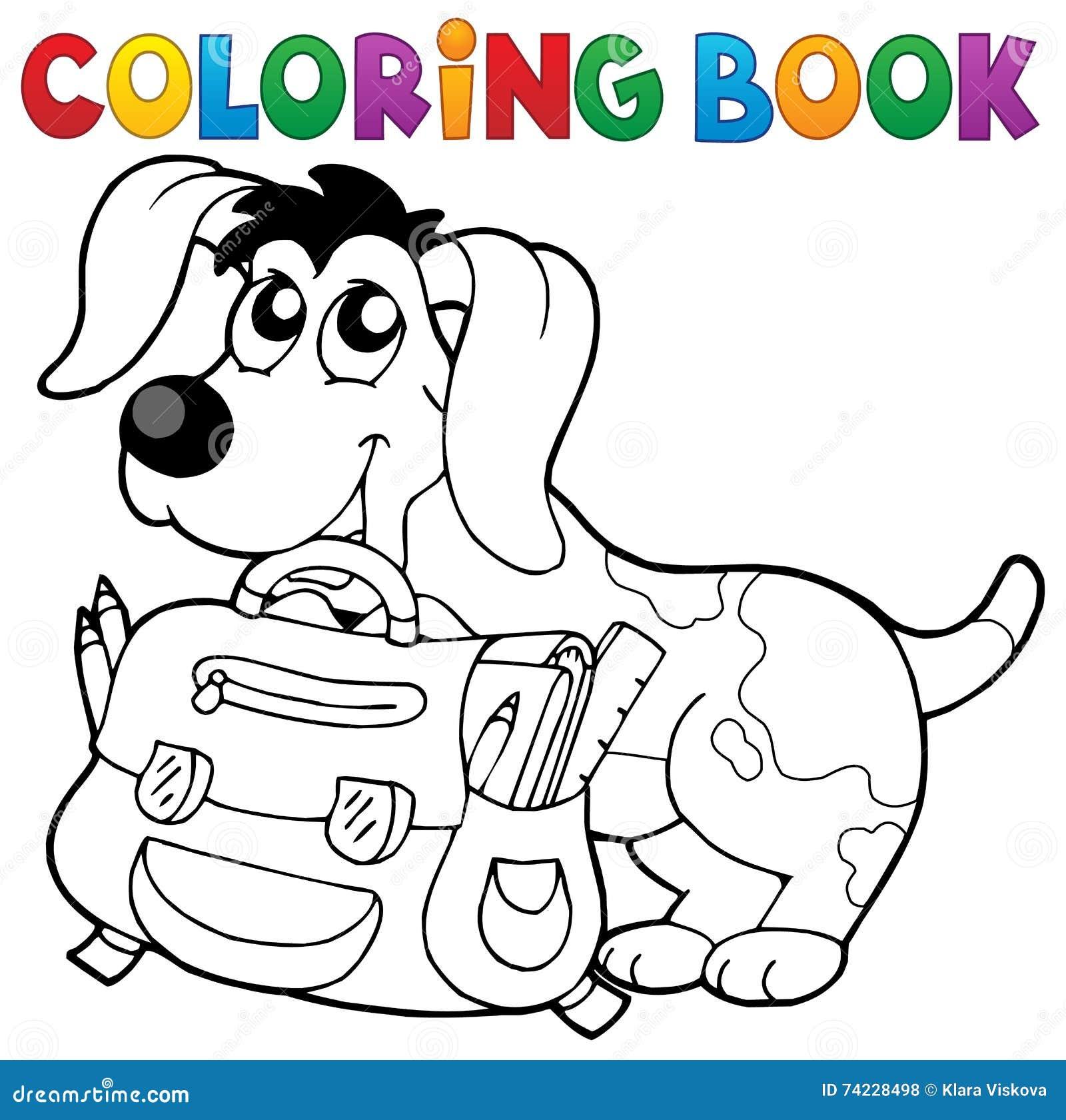 Chien De Livre De Coloriage Avec Le Theme 2 De Cartable Illustration