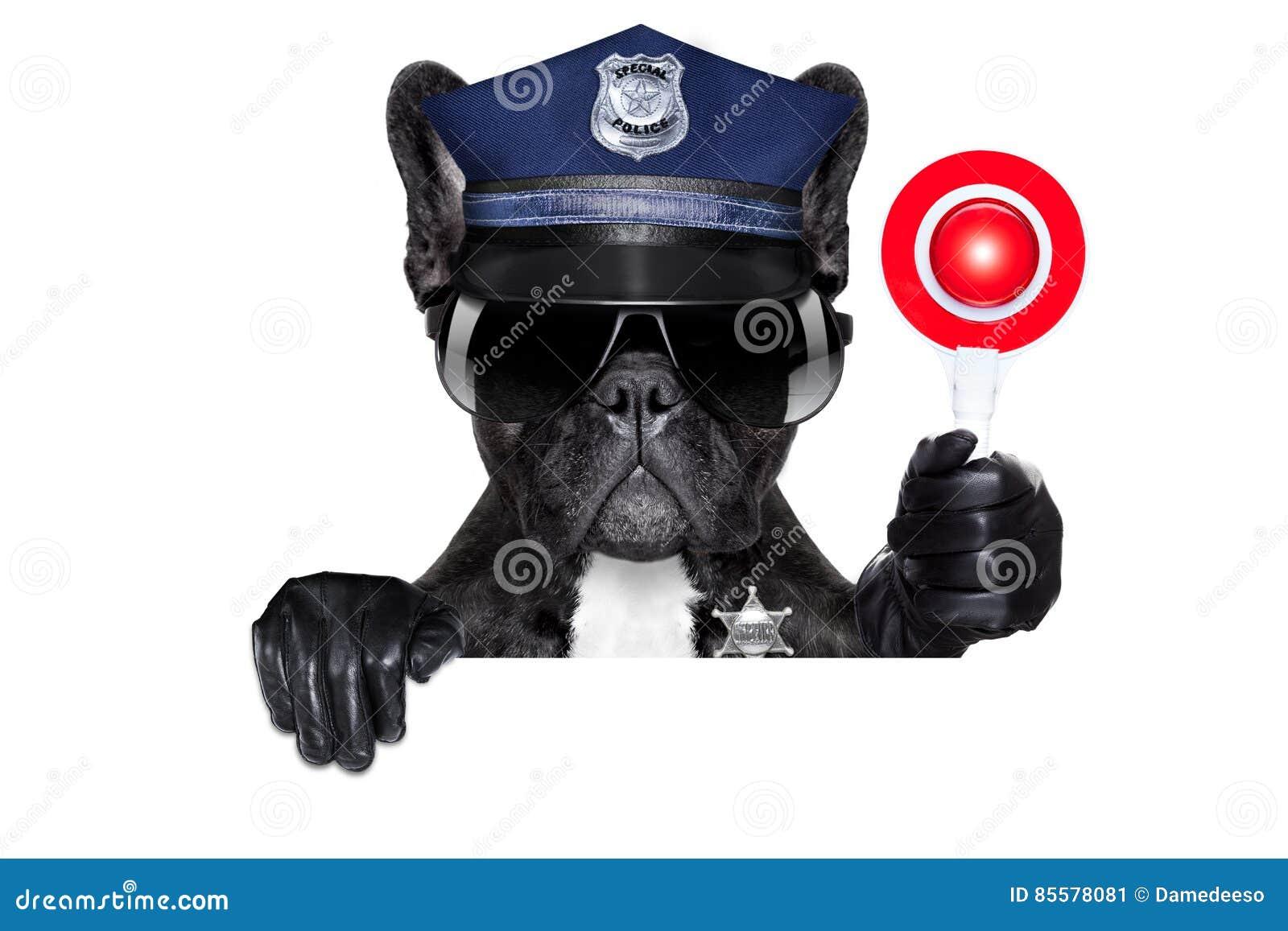 Chien de policier avec le signe d arrêt