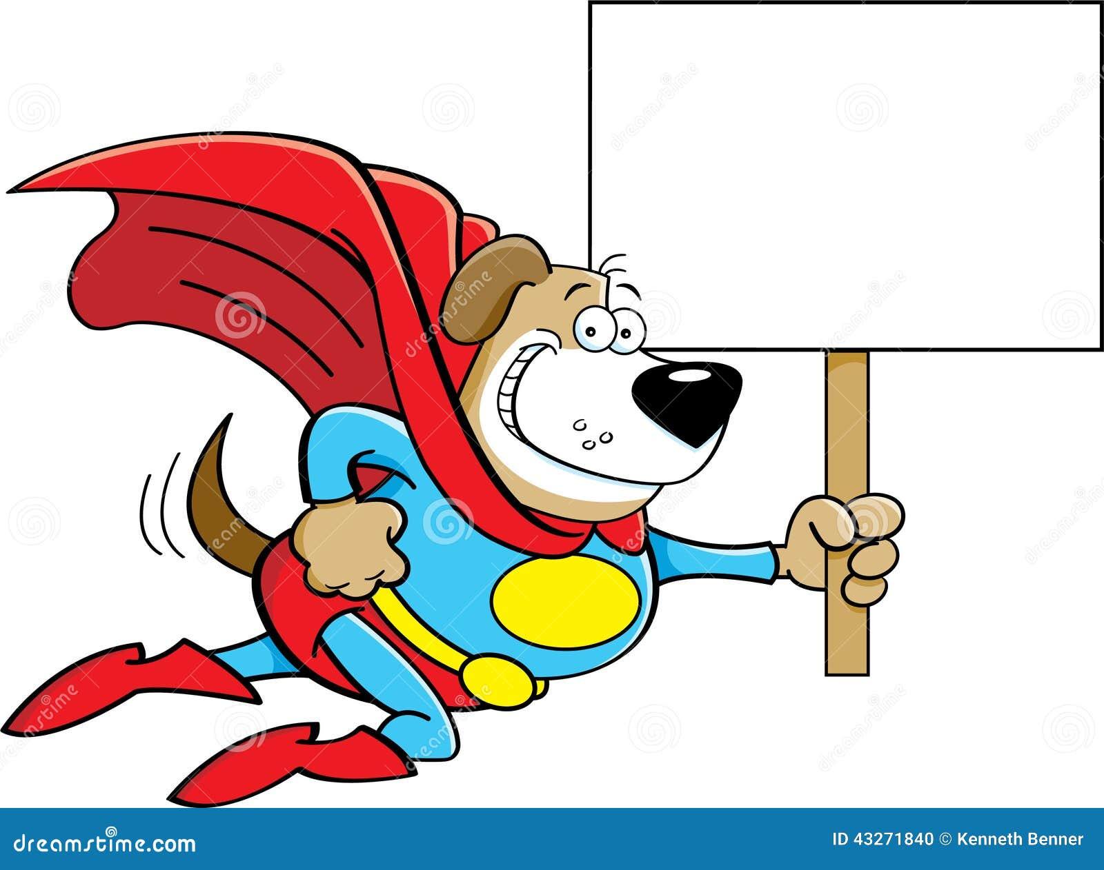 Chien De Super Héros De Bande Dessinée Avec Un Signe Illustration De