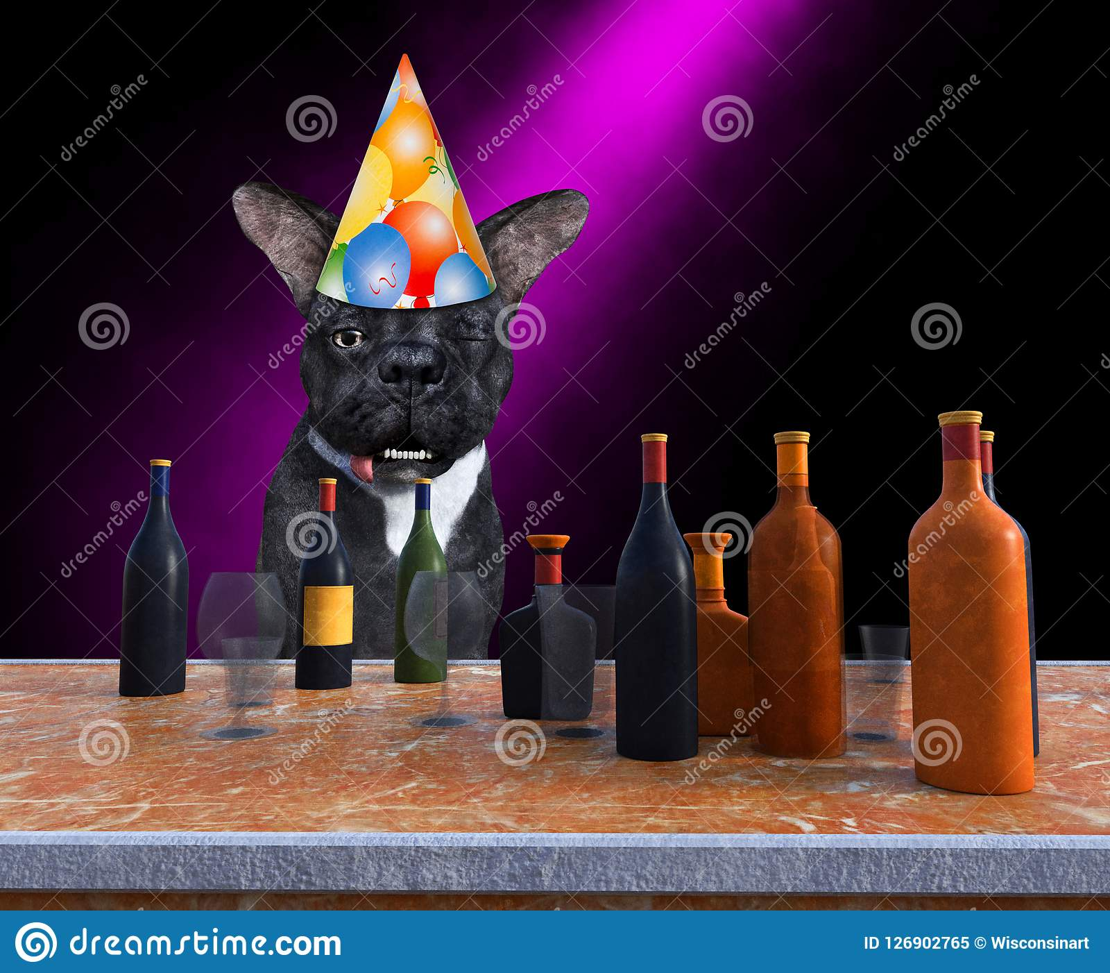 Chien drôle de partie de joyeux anniversaire, buvant, alcool