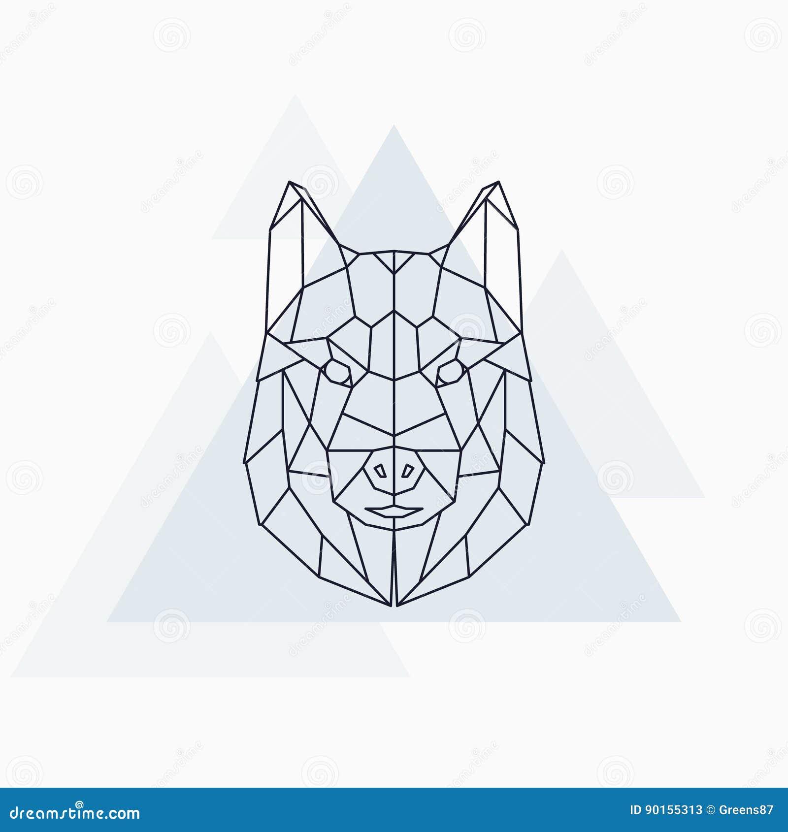 Chien Enroue Animal Geometrique Abstrait Illustration De Vecteur