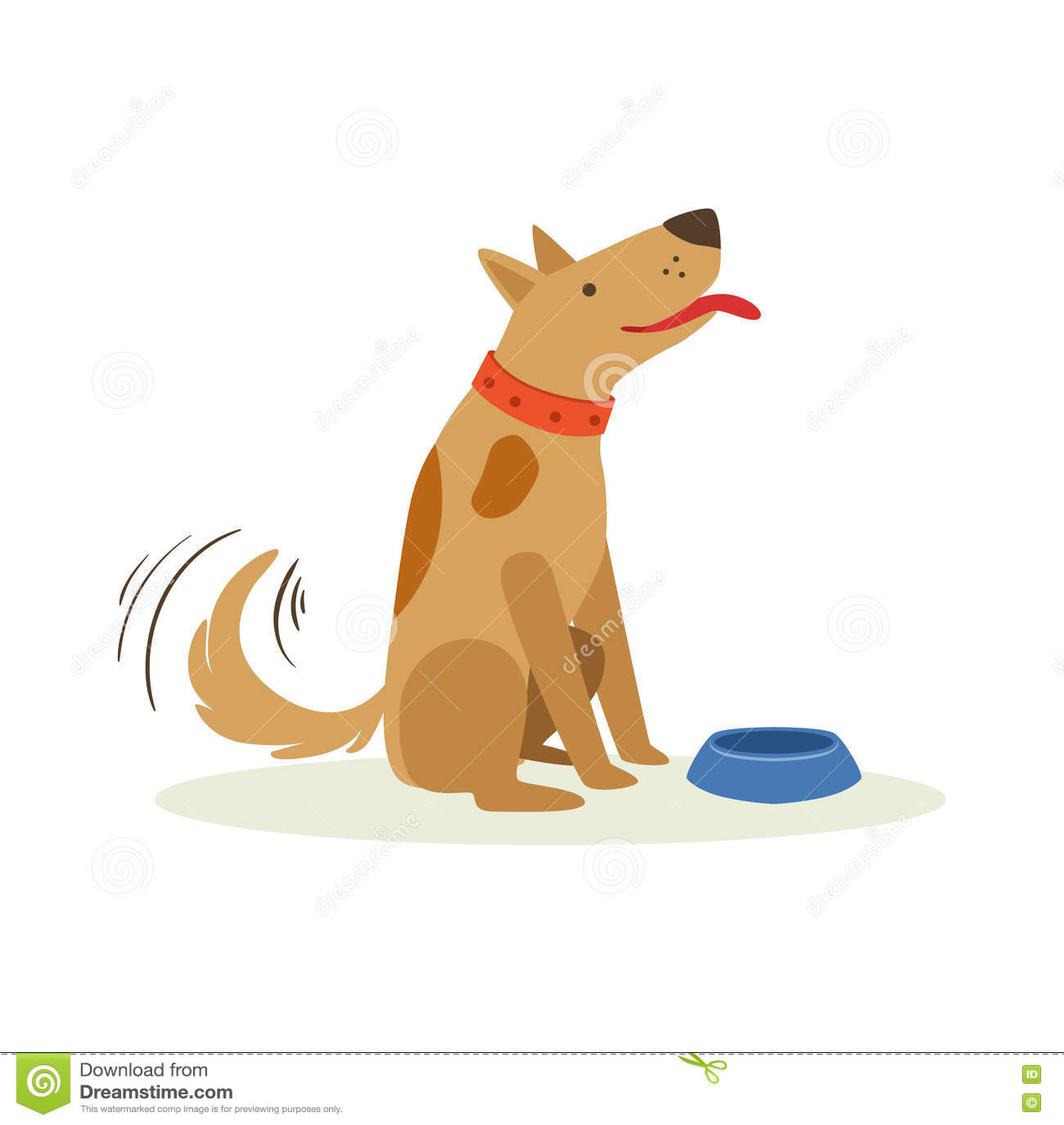 Chien Wating de Brown à être Fed With Dog Food, illustration animale de bande dessinée d émotion
