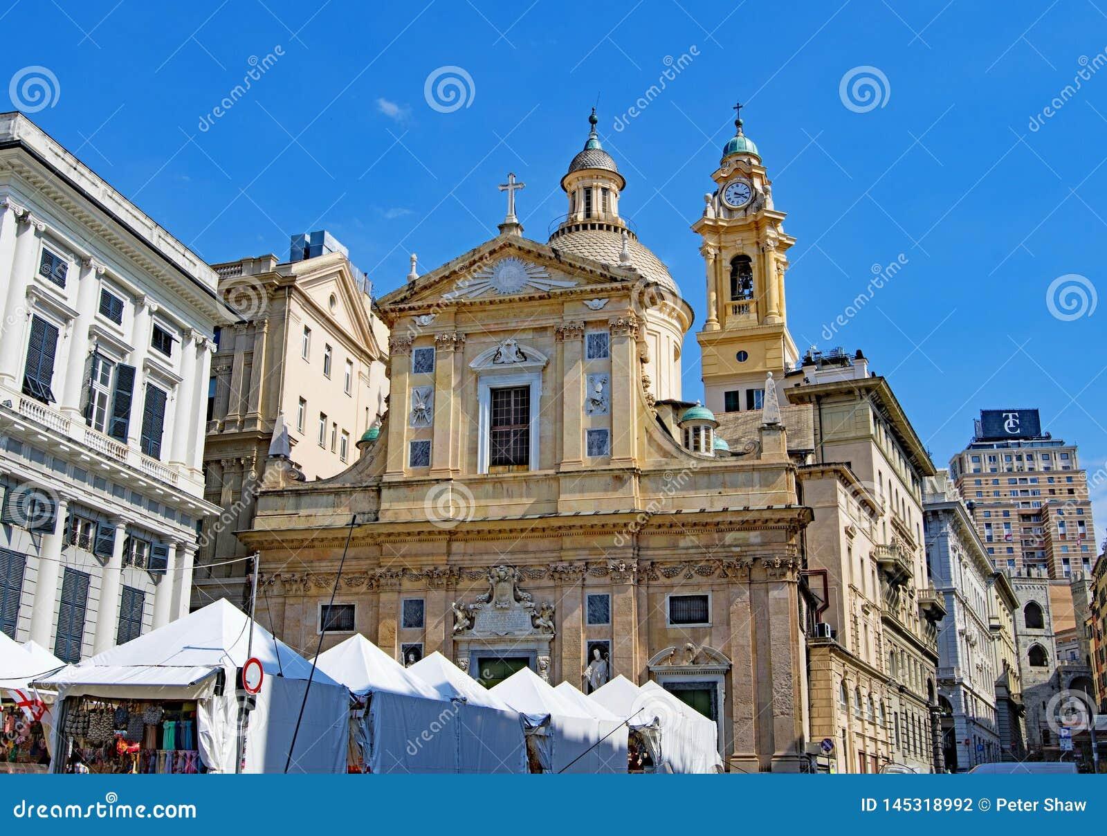 Chiesa del Gesu dei Santi Ambrogio e Andrea, in Genua, Italië in Pasen 2019