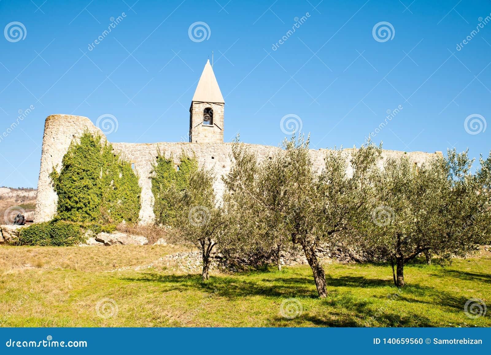 Chiesa di trinit? santa e fortezza medievale nella scanalatura verde oliva in Hrastovlje Slovenia Europa centrale