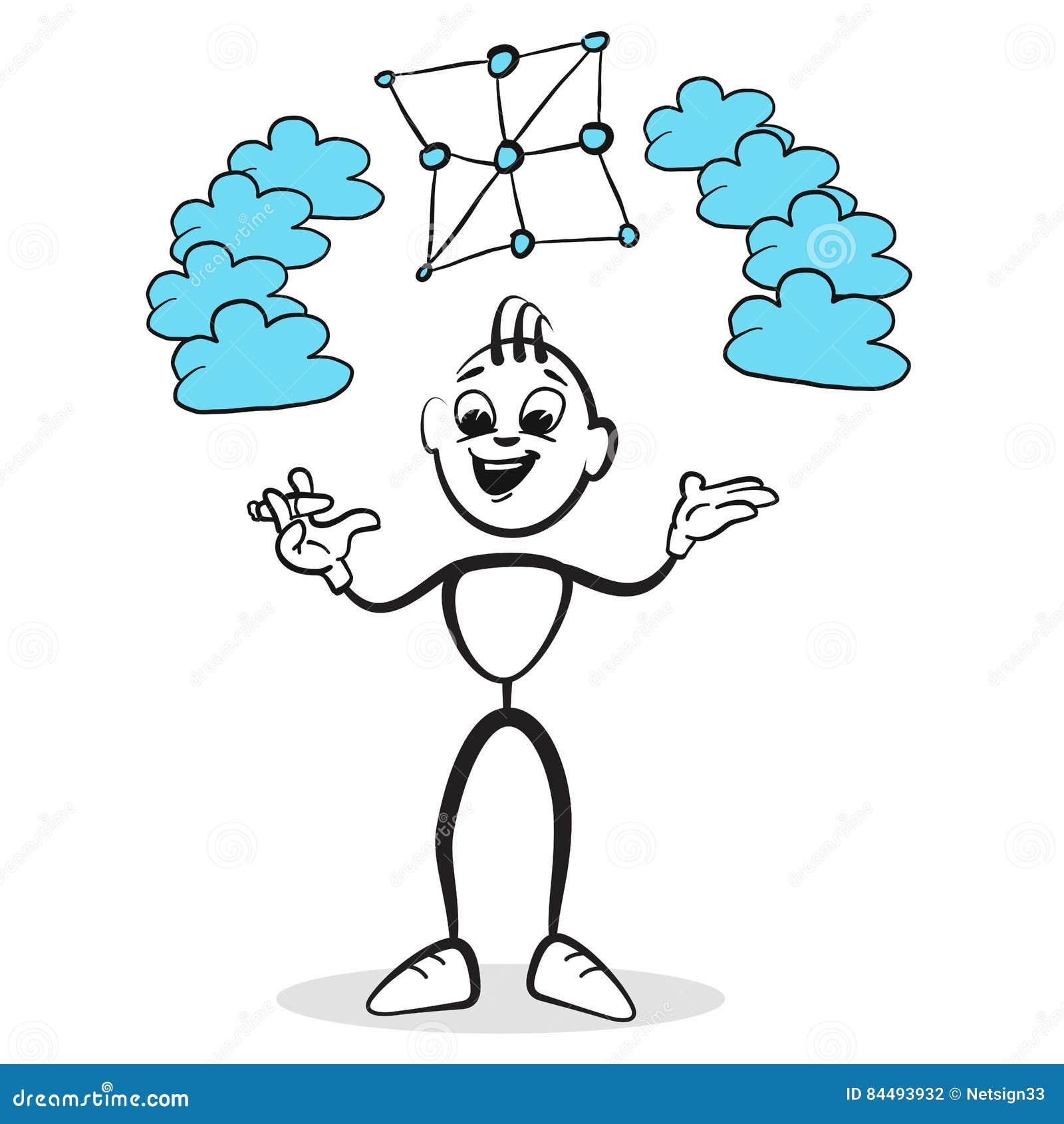 Chiffre émotions de série - nuage de bâton de réseau