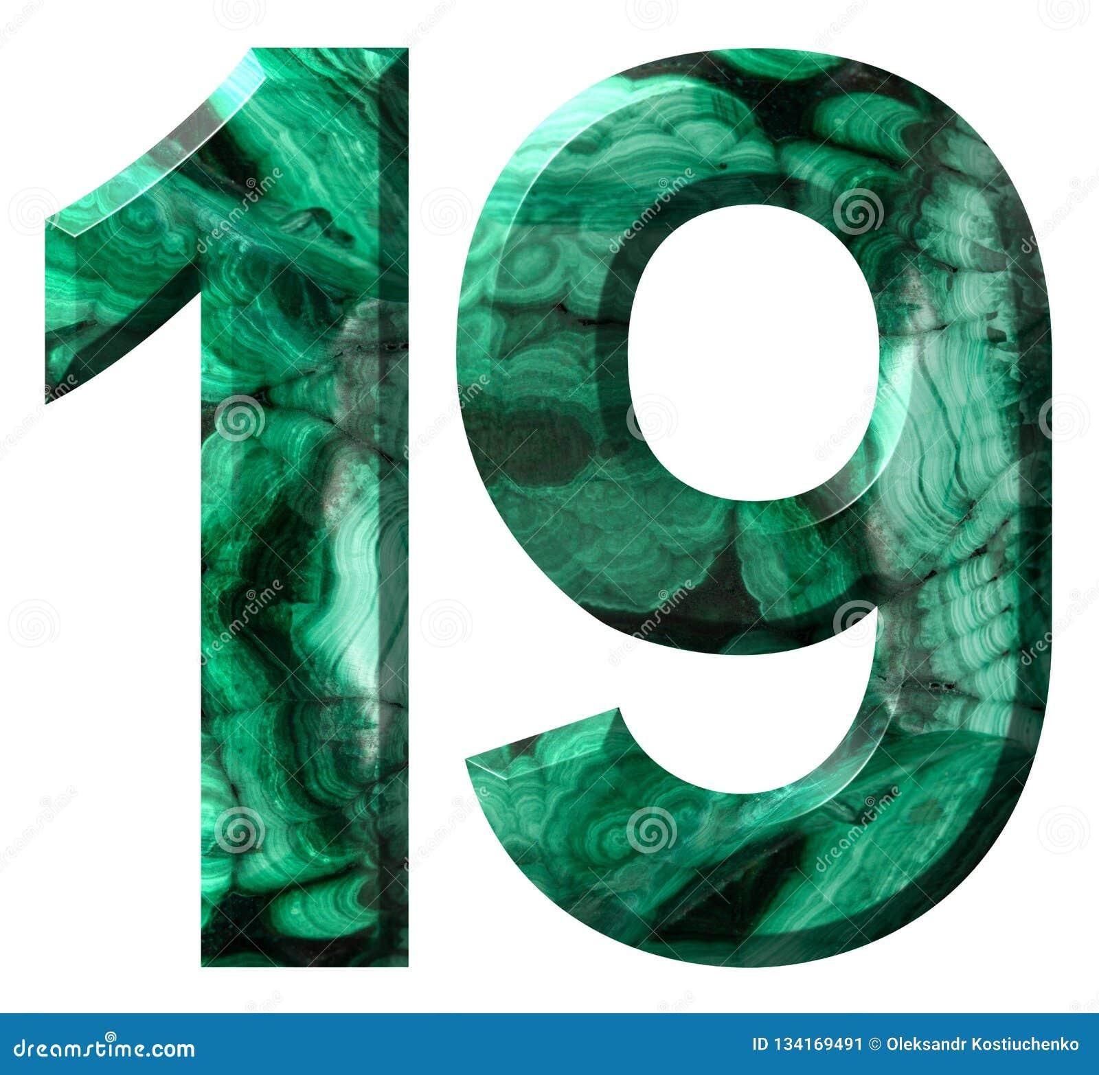 Chiffre arabe 19, dix-neuf, de la malachite verte naturelle, d isolement sur le fond blanc