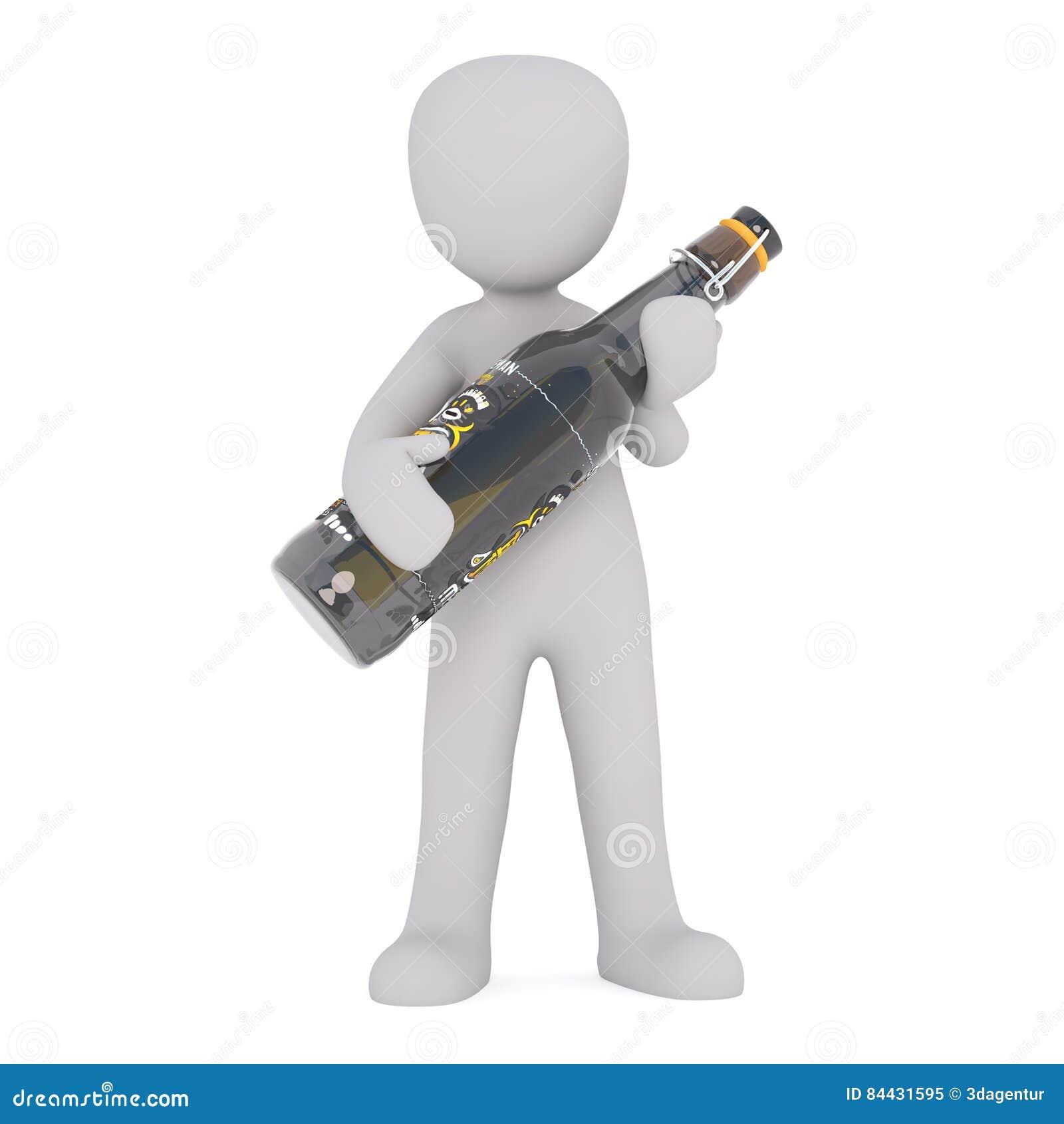 Chiffre de bande dessinée tenant la grande bouteille de bière