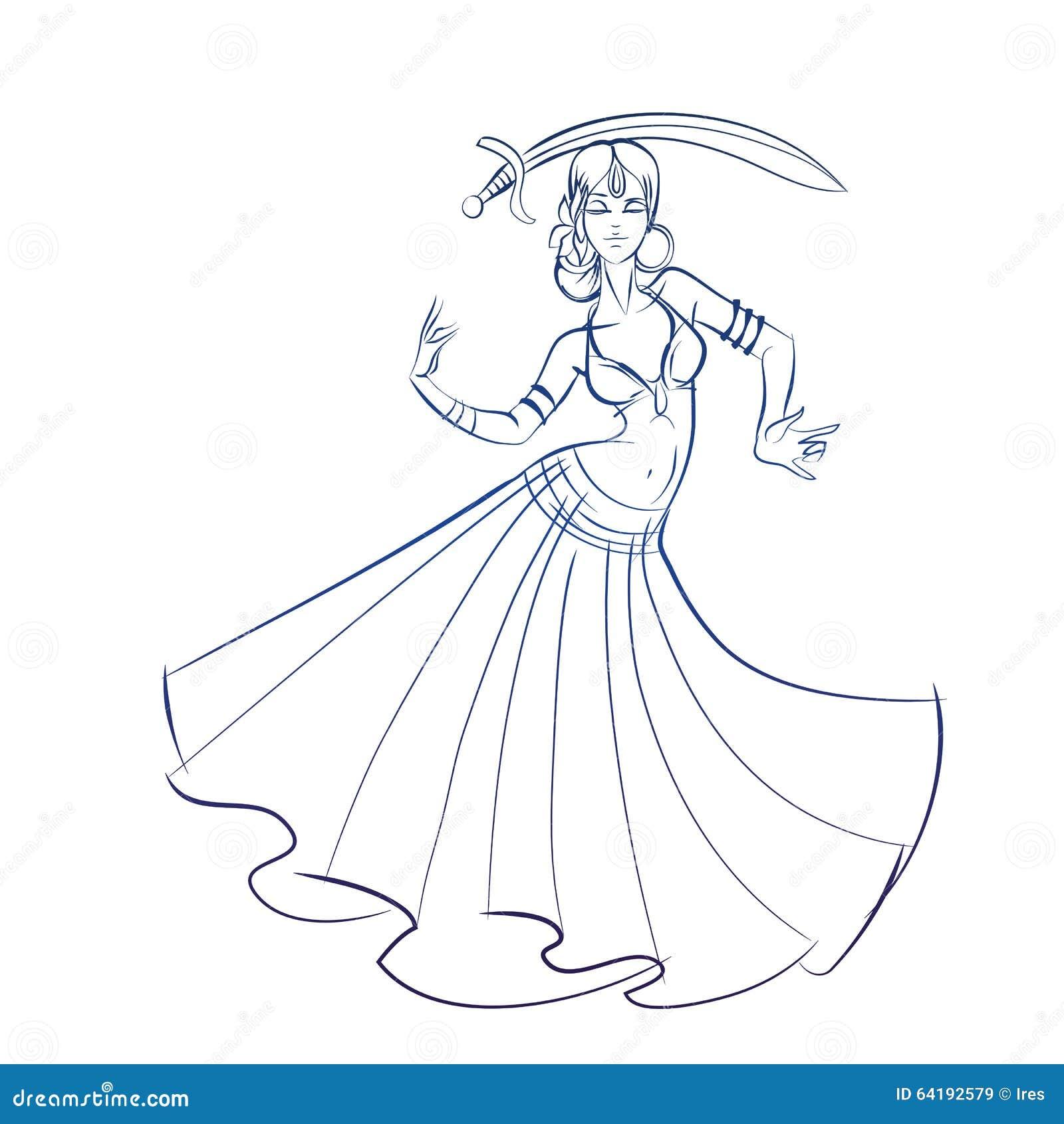 Chiffre dessin au trait de danseuse du ventre croquis de - Danseuse orientale dessin ...