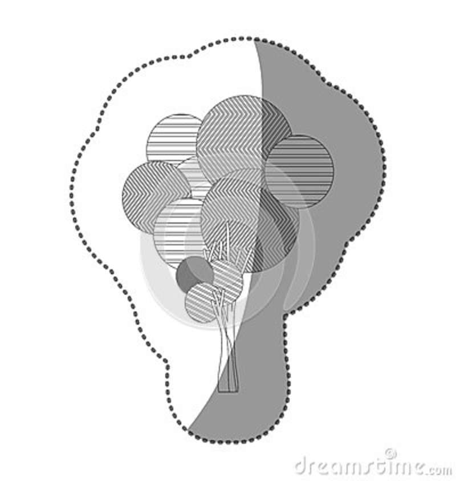 Chiffre ensemble de timbre d icône abstraite d arbre