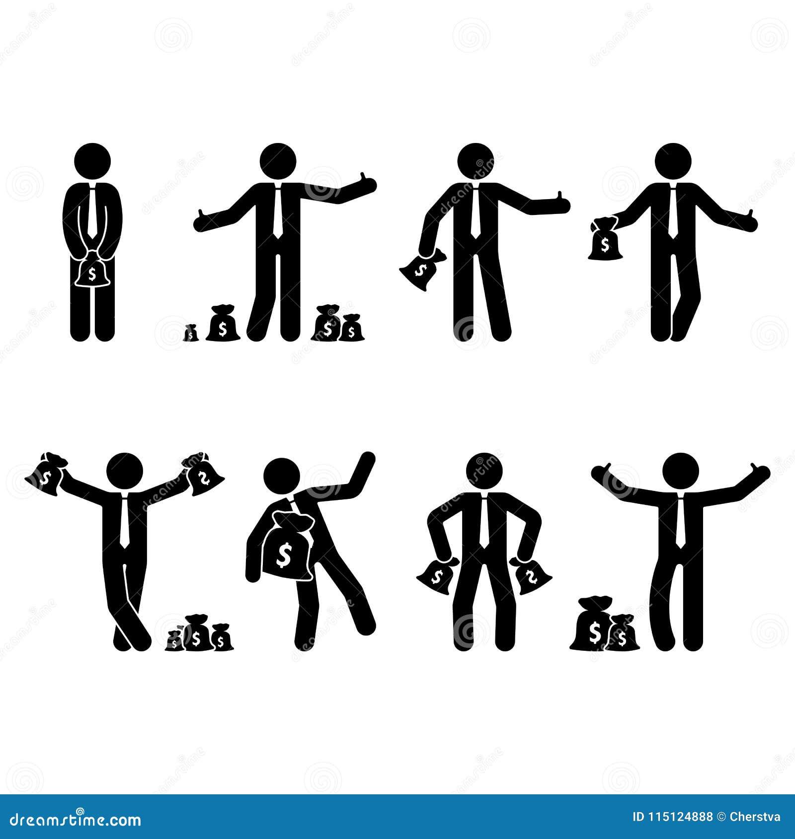 Chiffre ensemble riche de bâton d homme d affaires Dirigez l illustration de la personne heureuse tenant le sac d argent sur le b