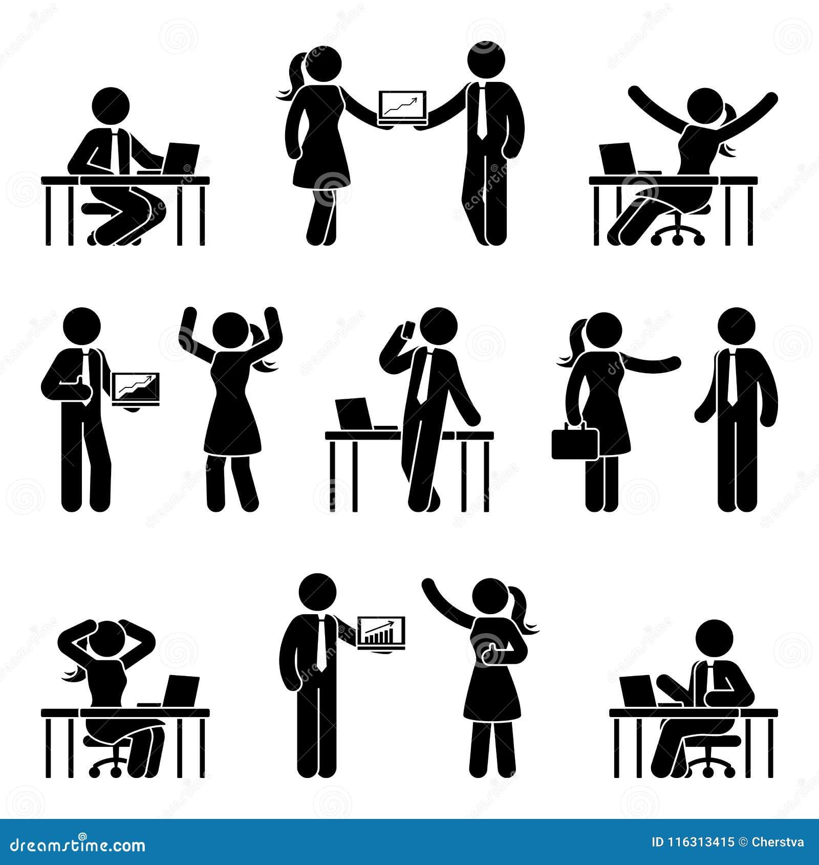 Chiffre gens d affaires de bâton d ensemble d icône Dirigez l illustration des hommes et des femmes sur le lieu de travail d isol