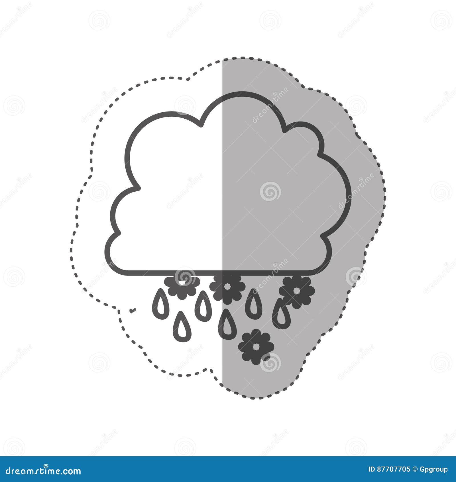 Chiffre icône rainning et de chute de neige de nuage