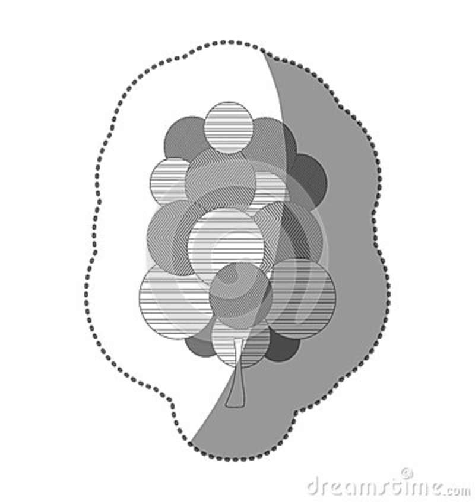 Chiffre icône stylisée d arbre de timbre