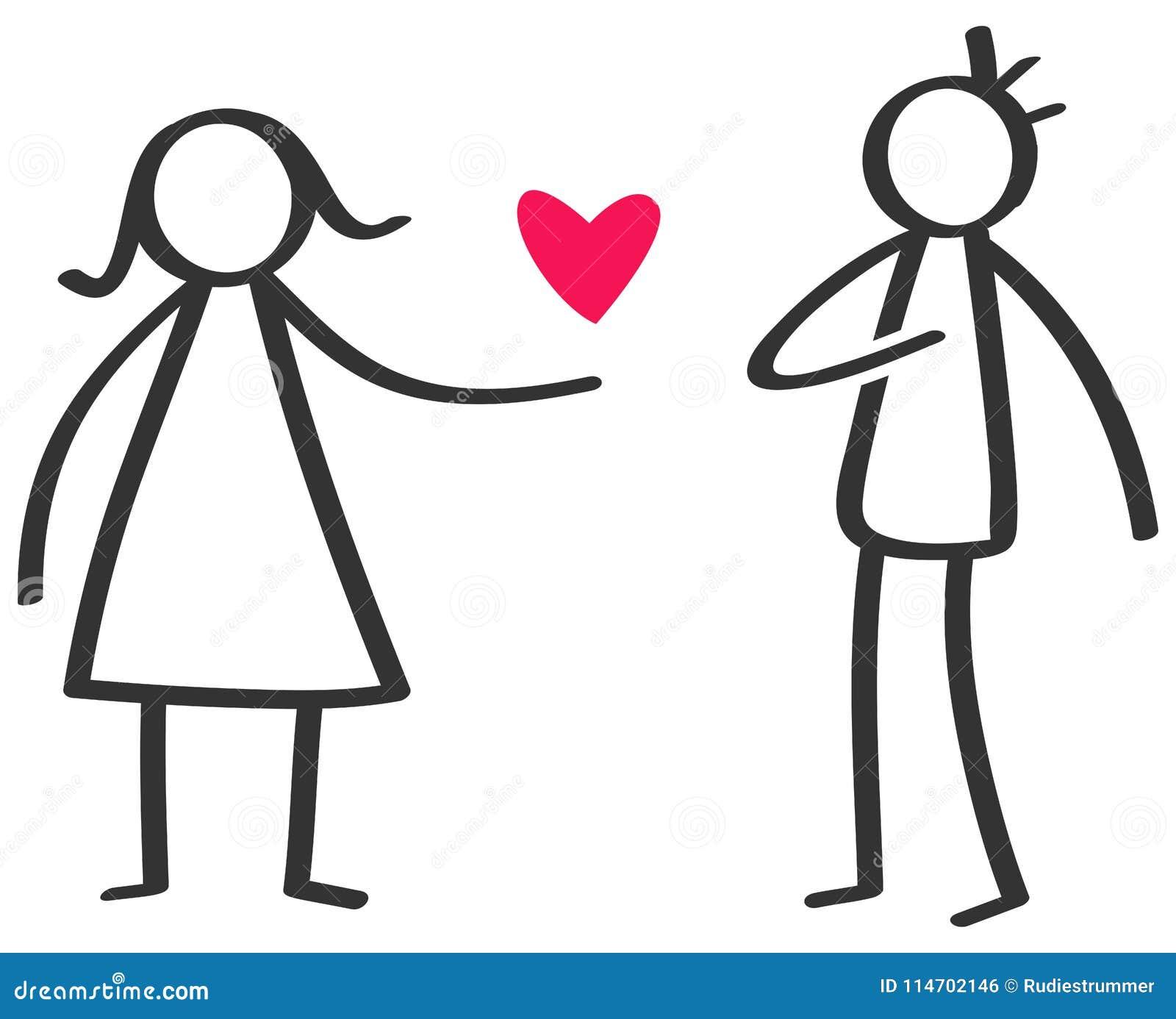 Chiffre noir et blanc simple femme de bâton donnant à amour le coeur rouge à l homme, déclaration de l amour