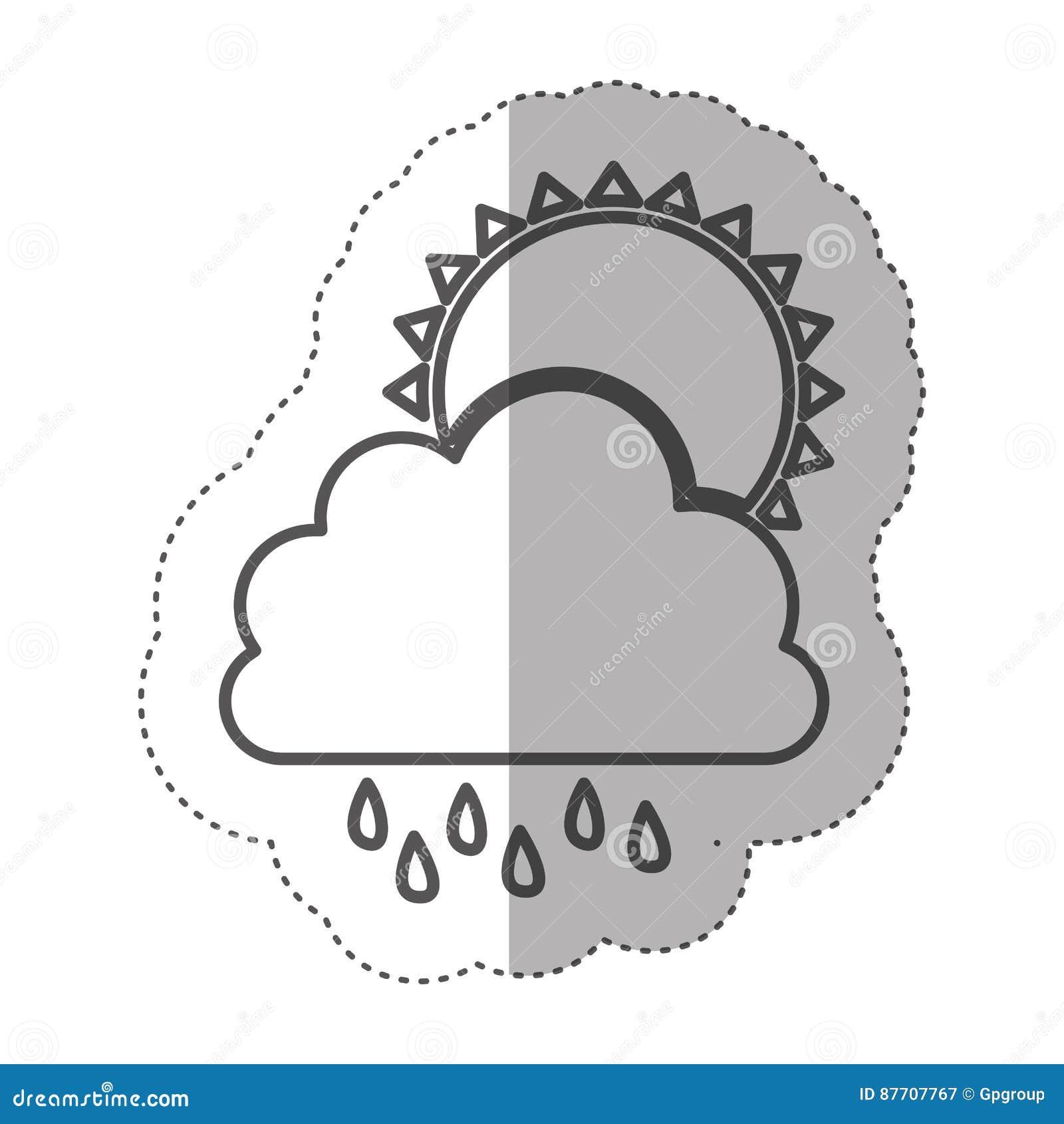 Chiffre nuage rainning avec l icône du soleil