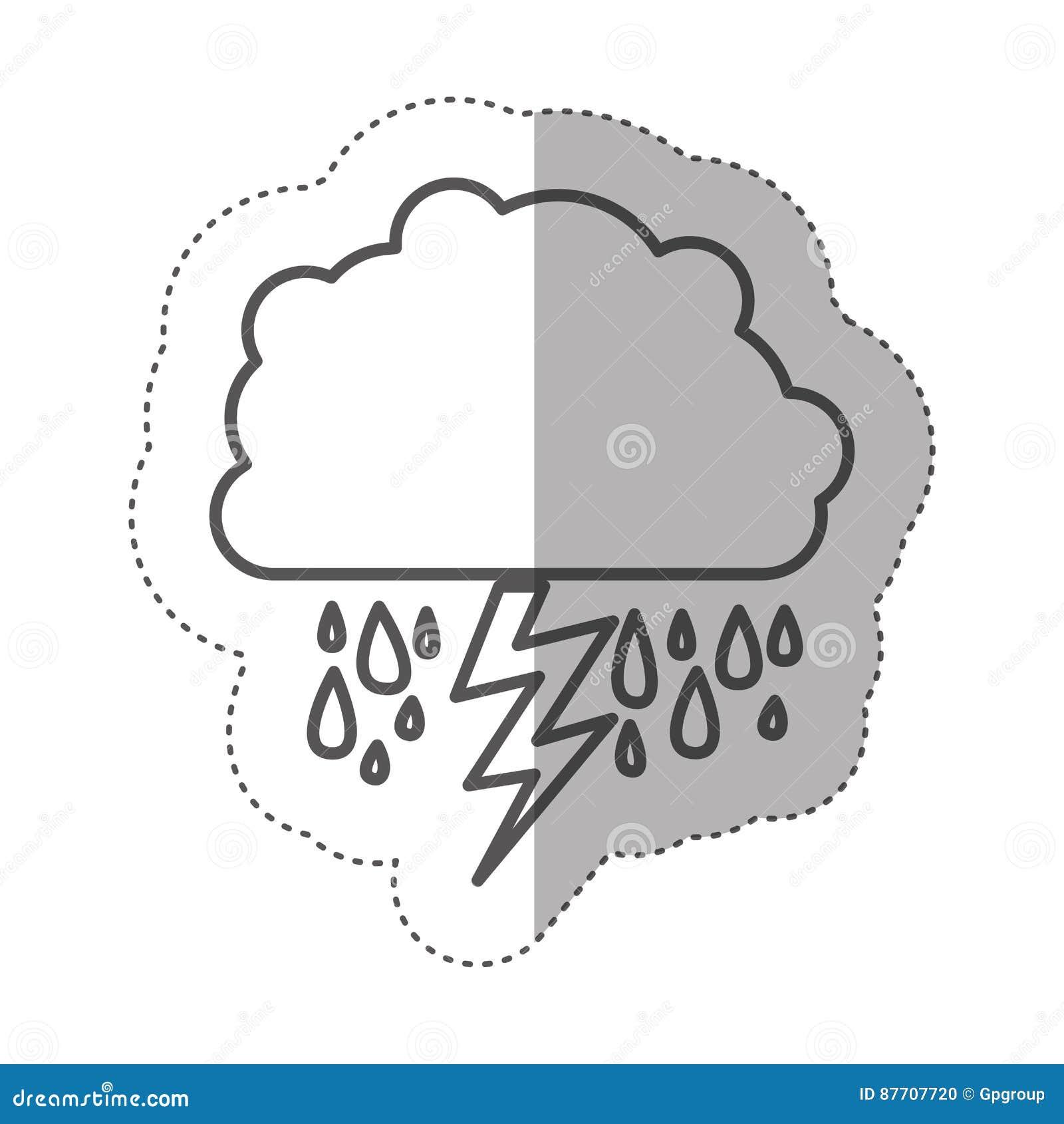 Chiffre nuage rainning avec le rayon
