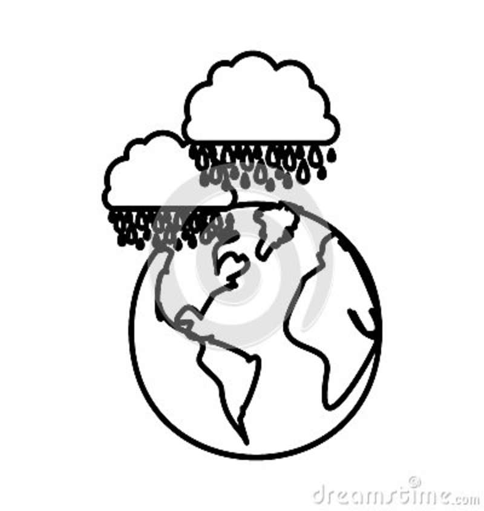 Chiffre planète de la terre avec des nuages rainning l icône