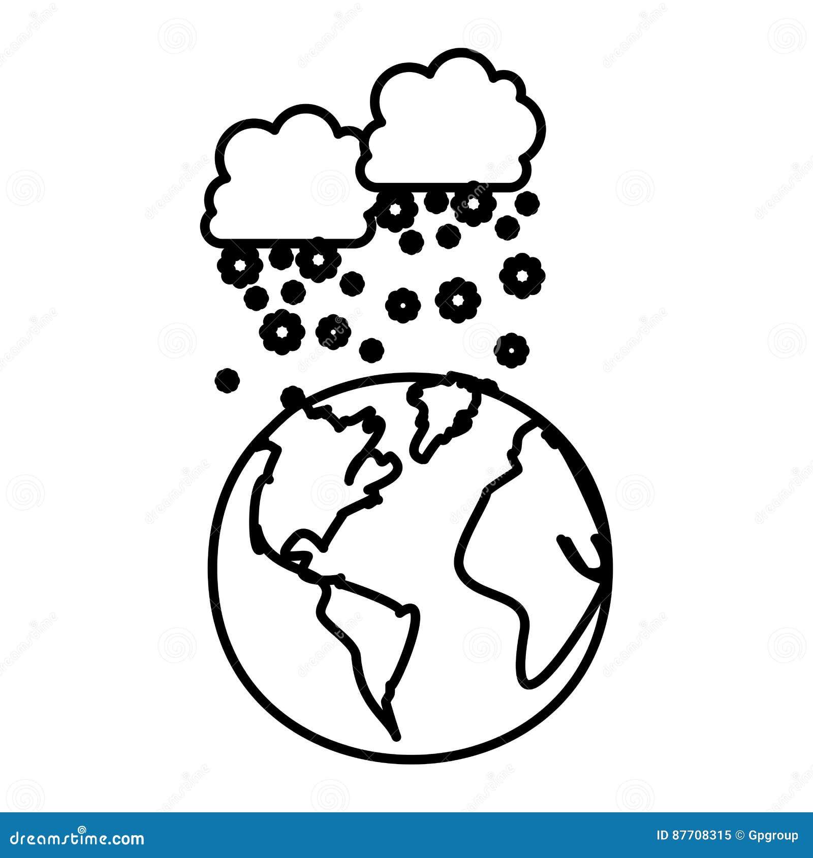 Chiffre planète de la terre avec l icône de neige de nuages