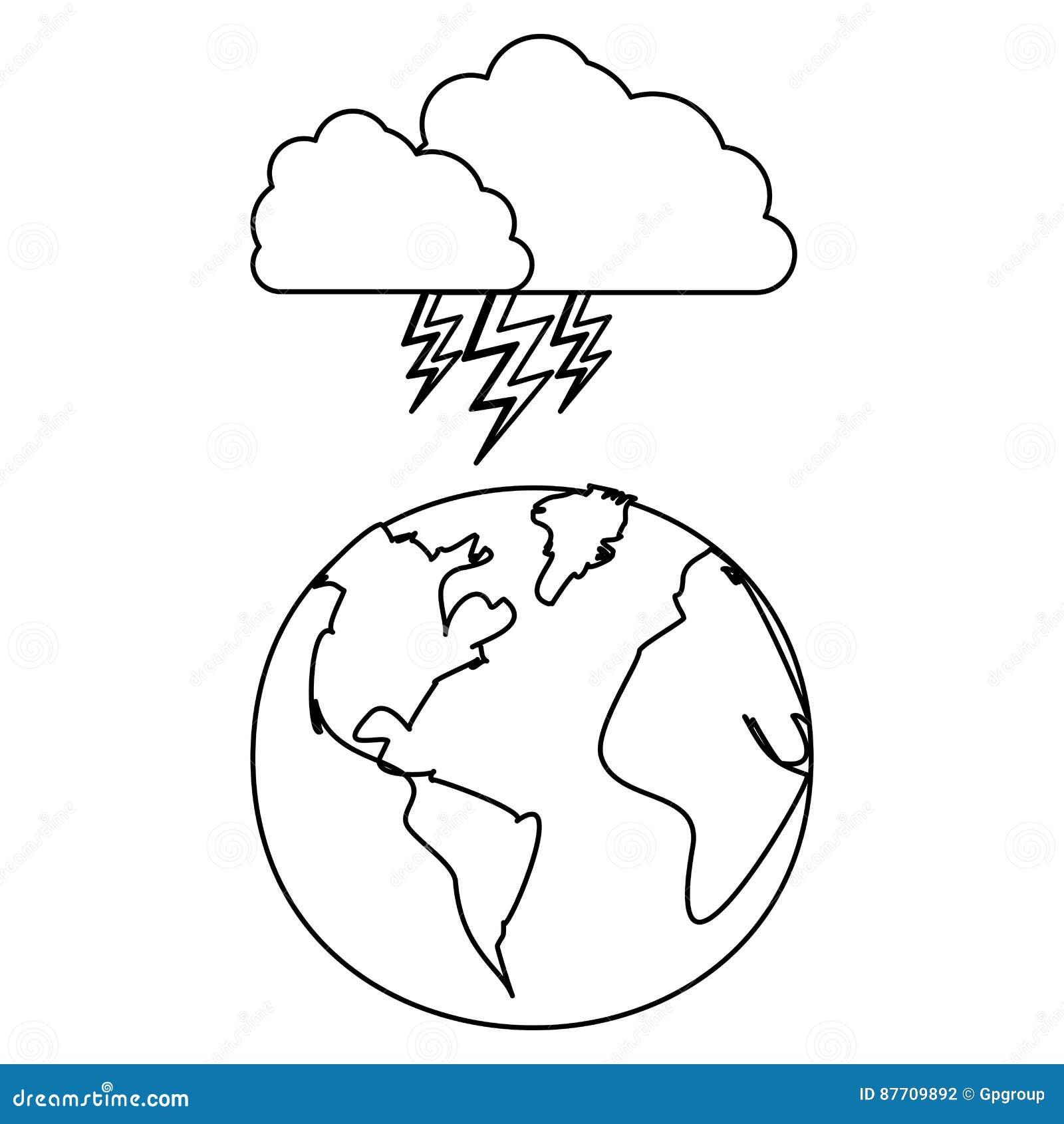 Chiffre planète de la terre avec l icône de rayon de nuage