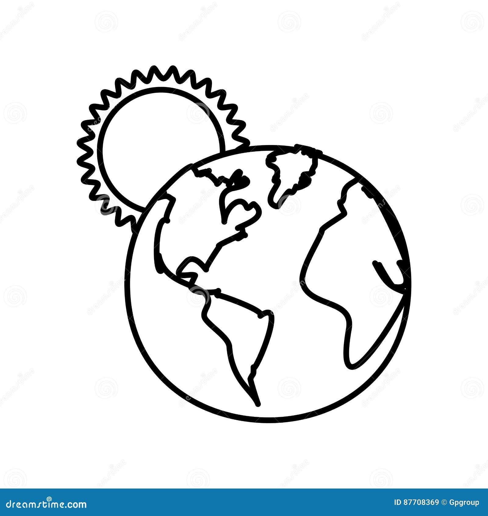 Chiffre planète de la terre avec l icône du soleil
