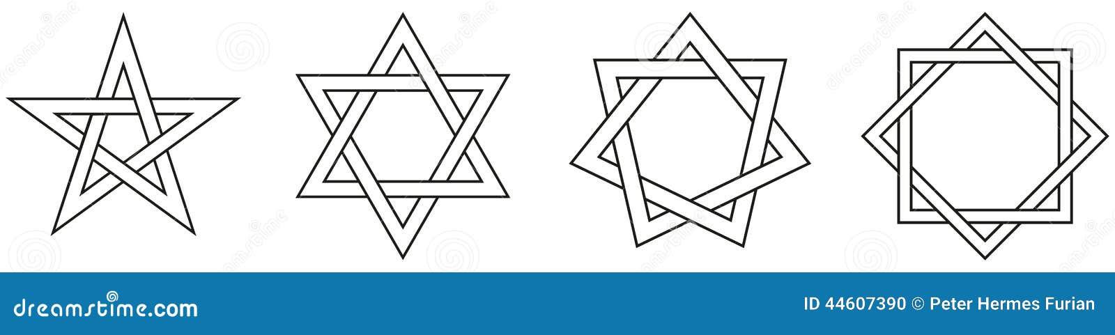 Chiffres d étoile géométriques contour