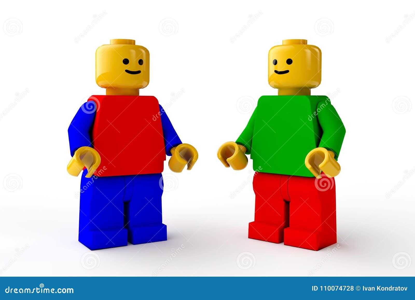 Chiffres de LEGO, deux caractères masculins de jouets