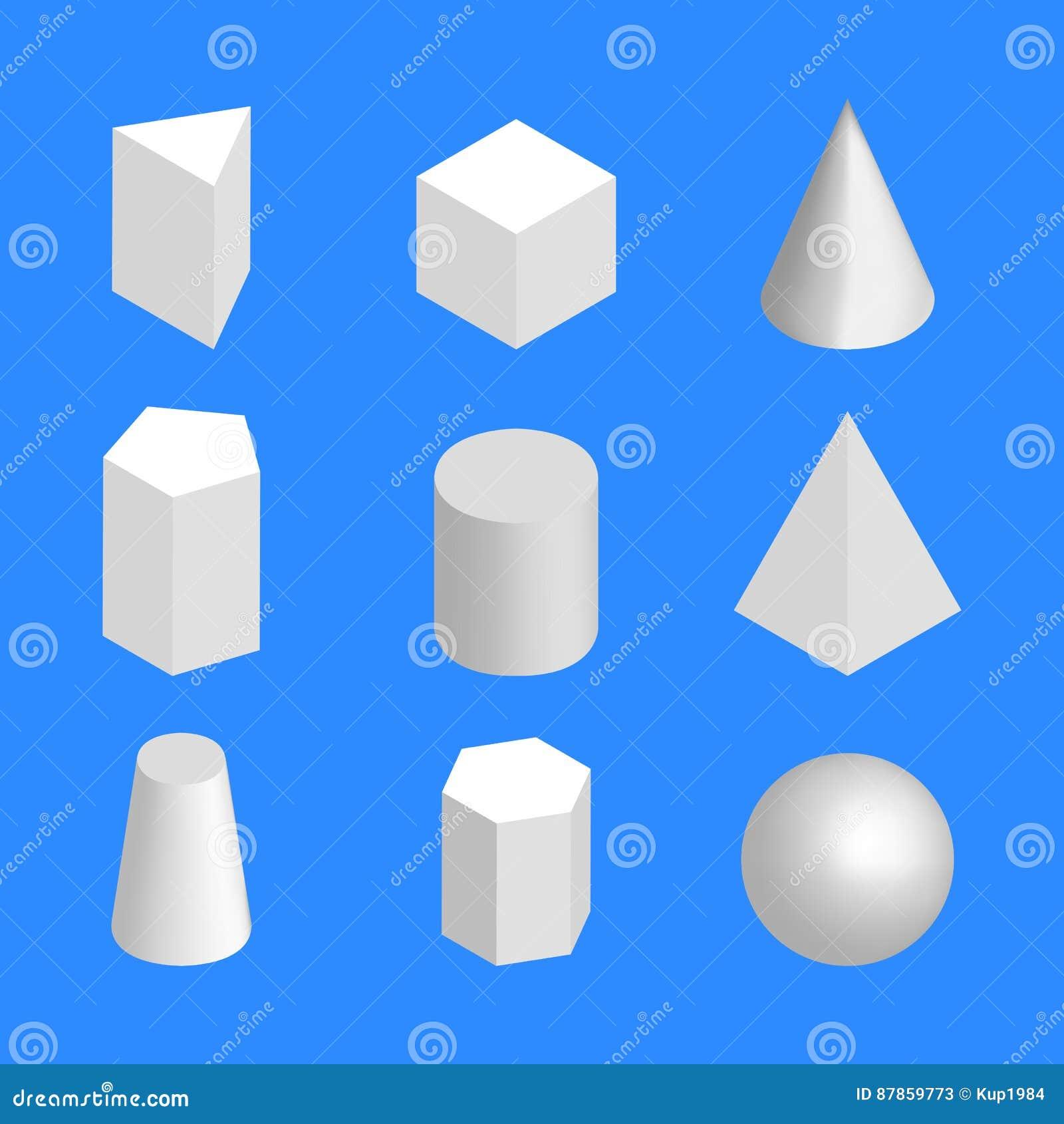 Chiffres géométriques simples isométriques, illustration de vecteur