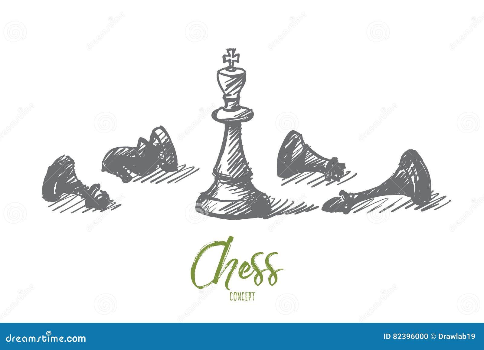 Chiffres tirés par la main d échecs avec le roi au centre