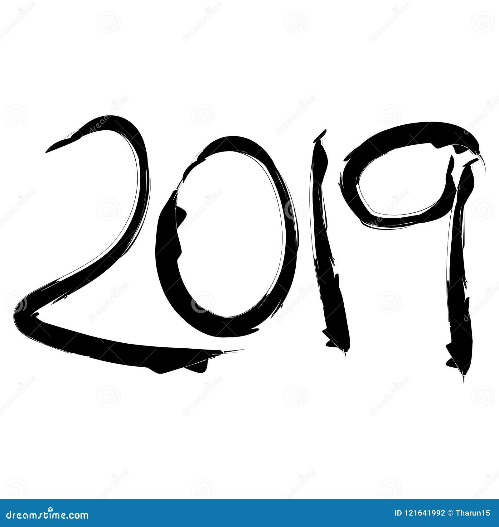 Chiffres vingt dix-neuf dans la course noire de brosse pendant la nouvelle année
