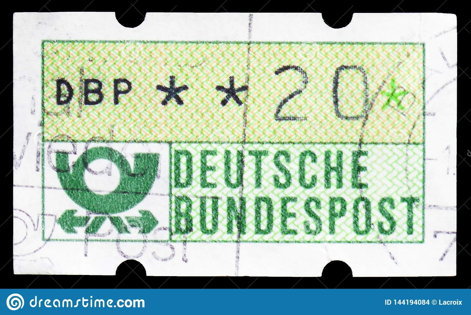 Chifre de cargo, DBP corajoso, serie das etiquetas do ATM, cerca de 1992