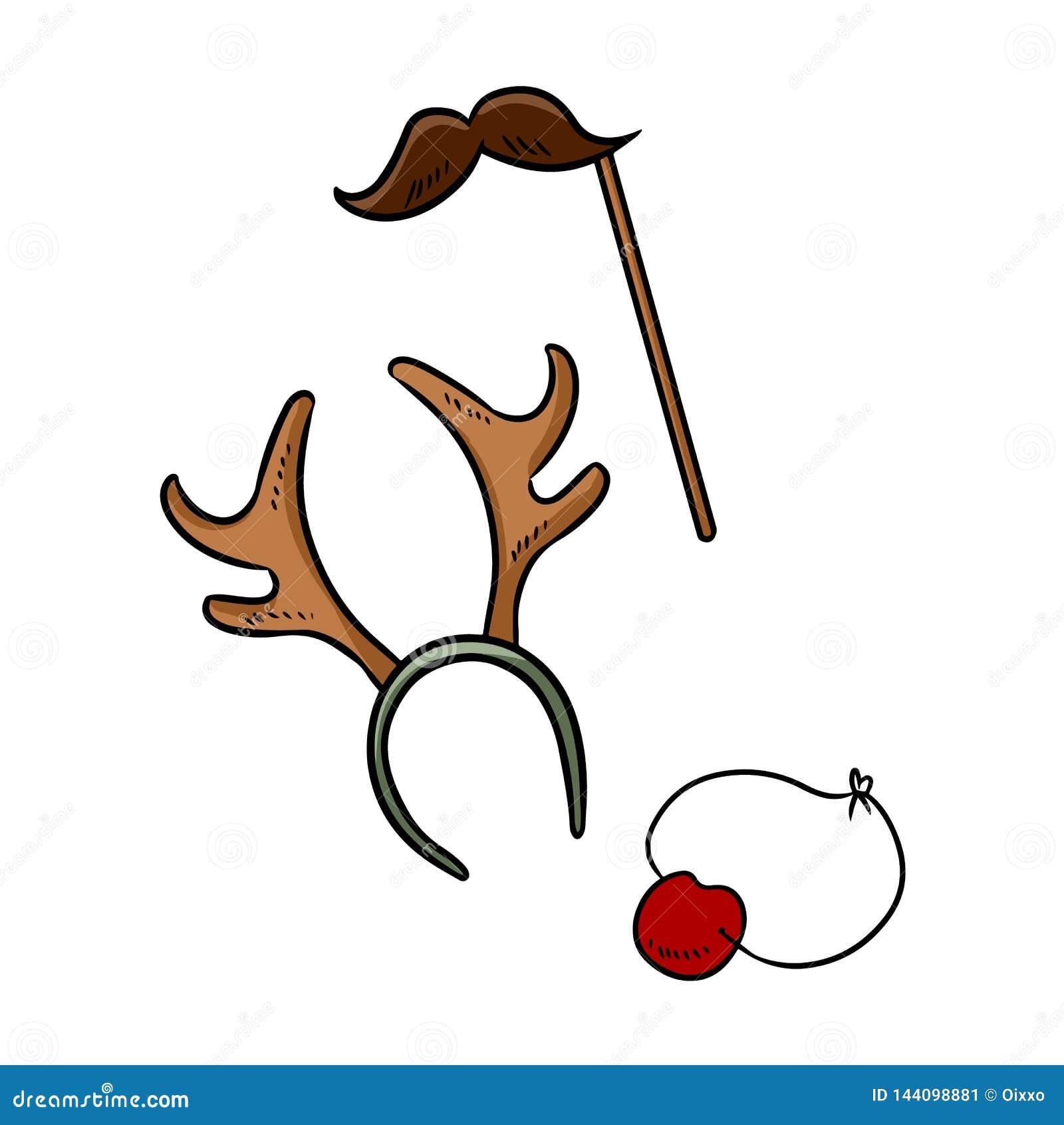 Chifres da rena do bigode dos artigos da festa de Natal e elementos da garatuja do nariz de Rudolph