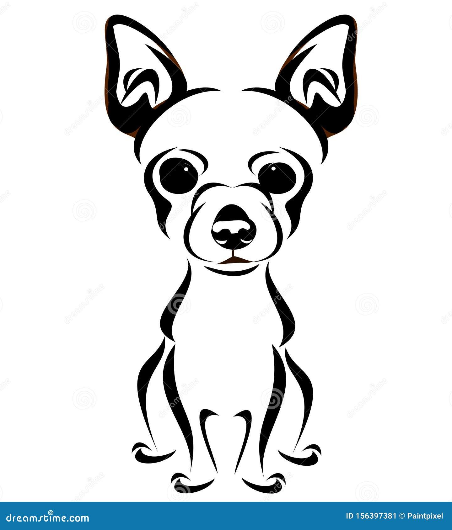 Abstract Dog Line Art