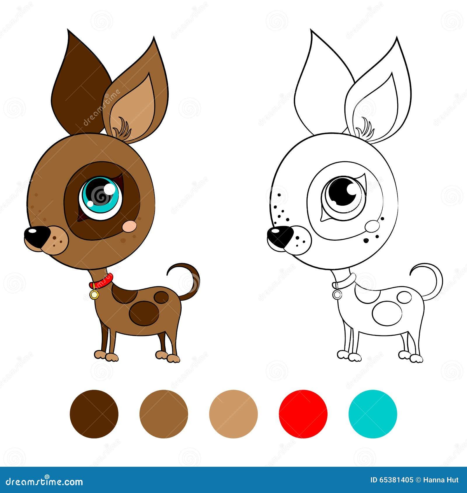 Chihuahua De La Raza Del Perro Del Libro De Colorear Con Las ...