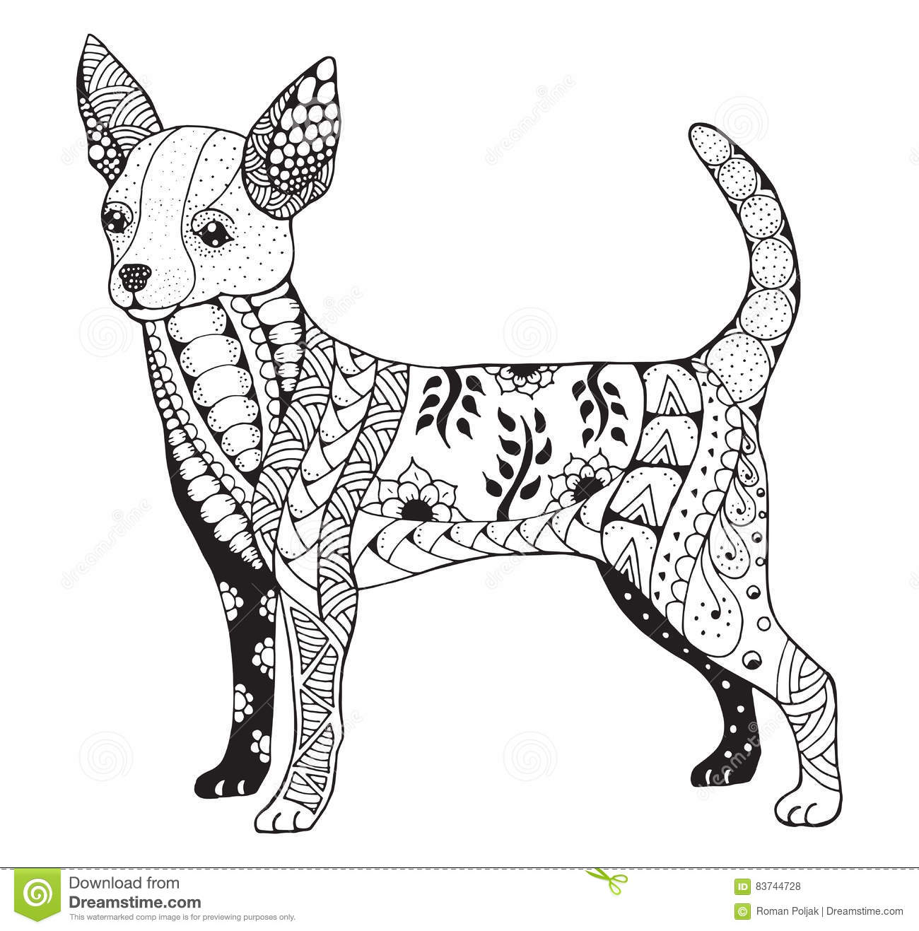 Chihuahua Zentangle Stylized Vector Illustration Freehand