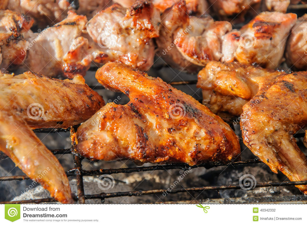 Chiken wings and Juicy roasted kebabs and on the BBQ