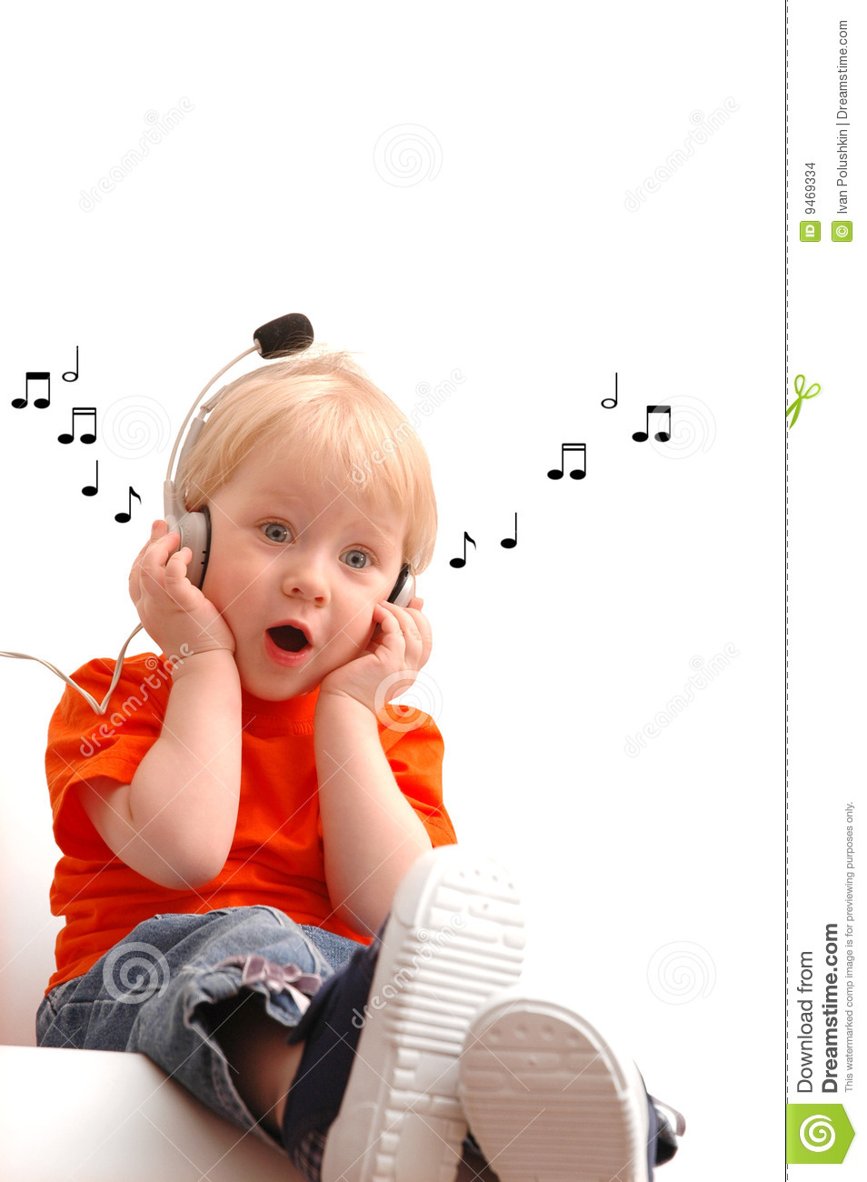 Child Of 2 Years Listening Music Stock Images - Image: 9469334