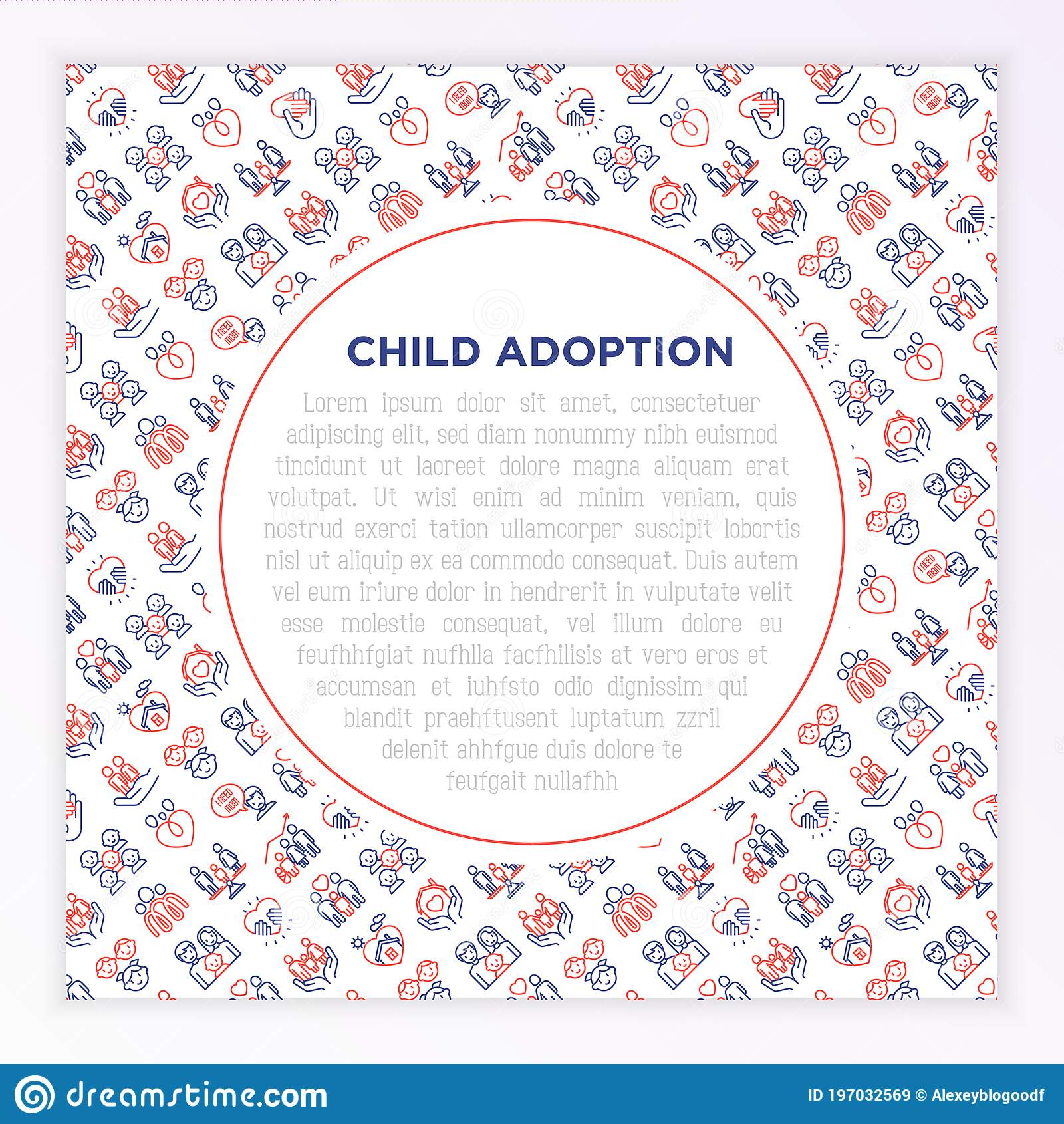Child Adoption Concept With Thin Line Icons: Adoptive ...