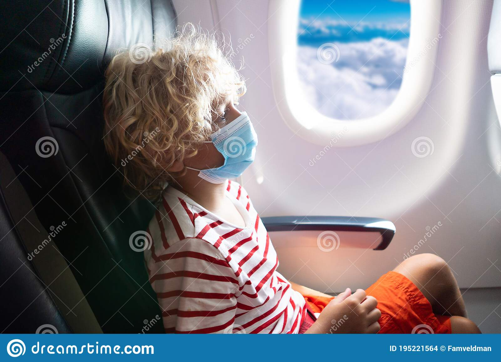 Child In Airplane In Face Mask Virus Outbreak Stock Photo Image Of Baby Germs 195221564