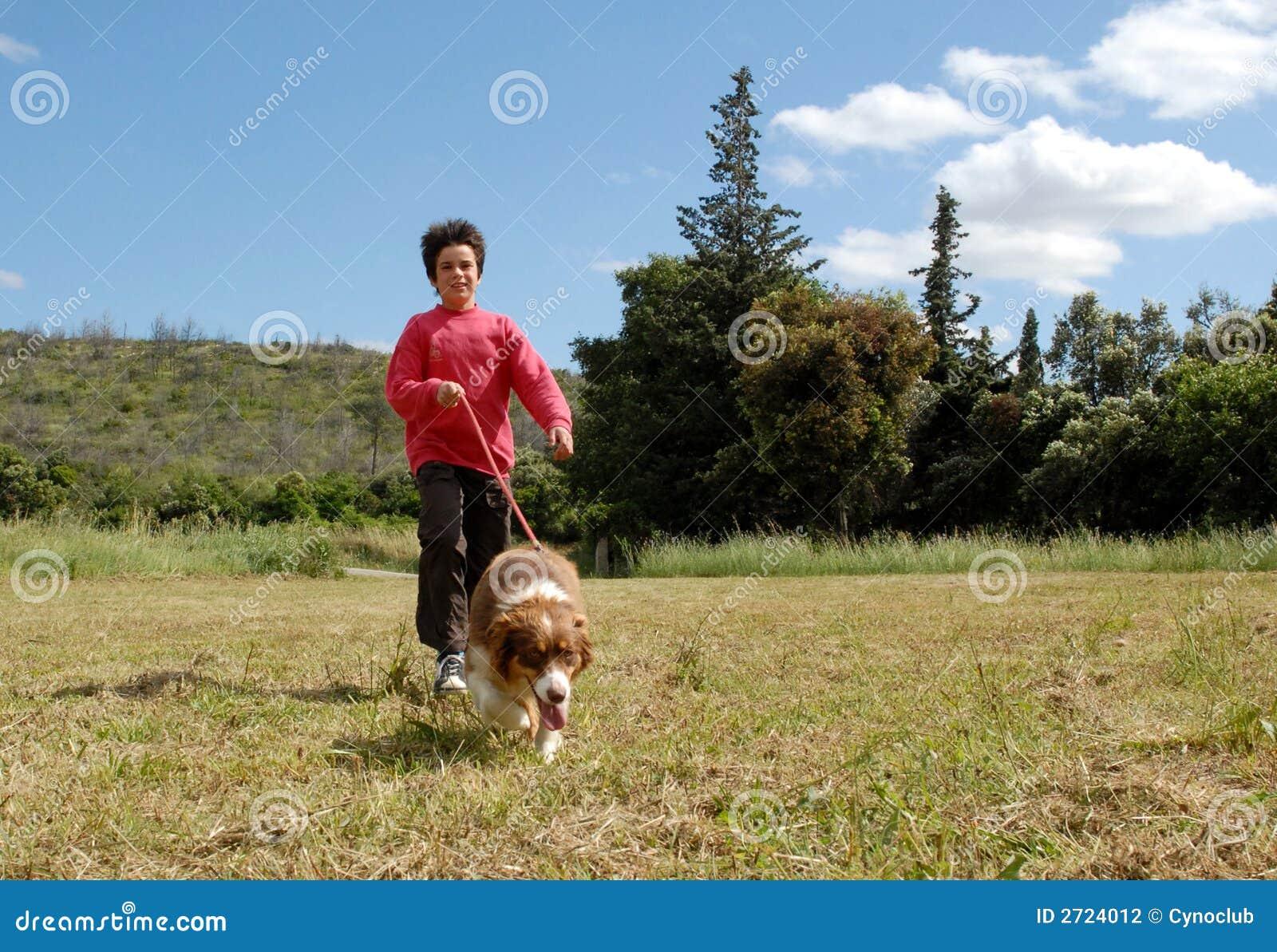 Child and australian dog
