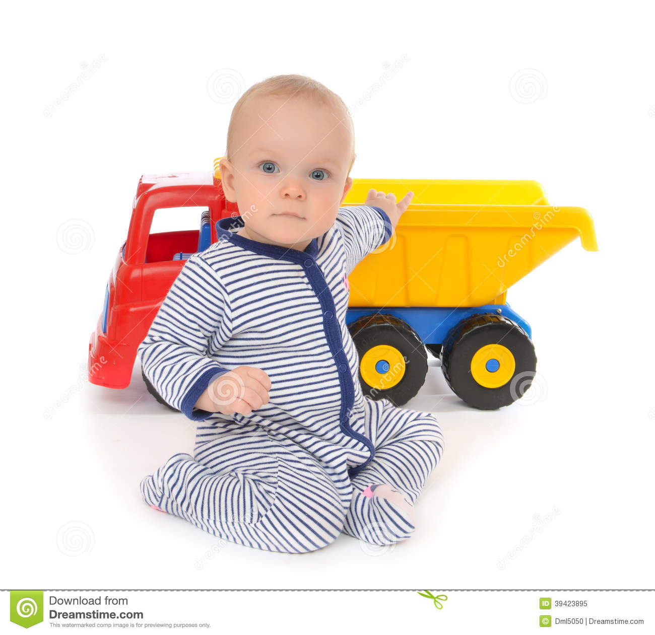 Boy Toddler Toys : Child baby boy toddler happy sitting with big toy car