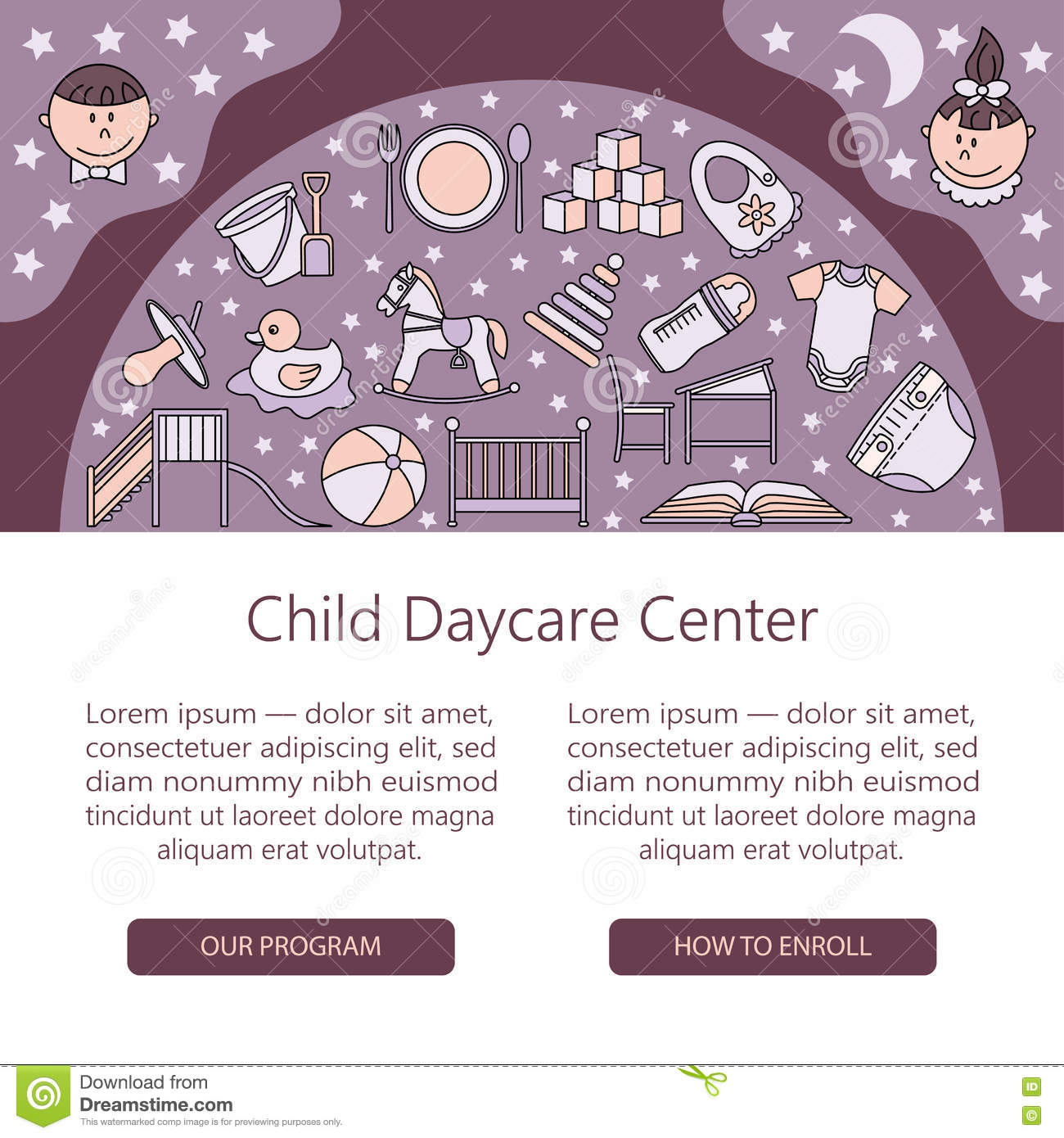 Baby cribs for daycare centers - Child And Baby Care Center Web Or Card Template