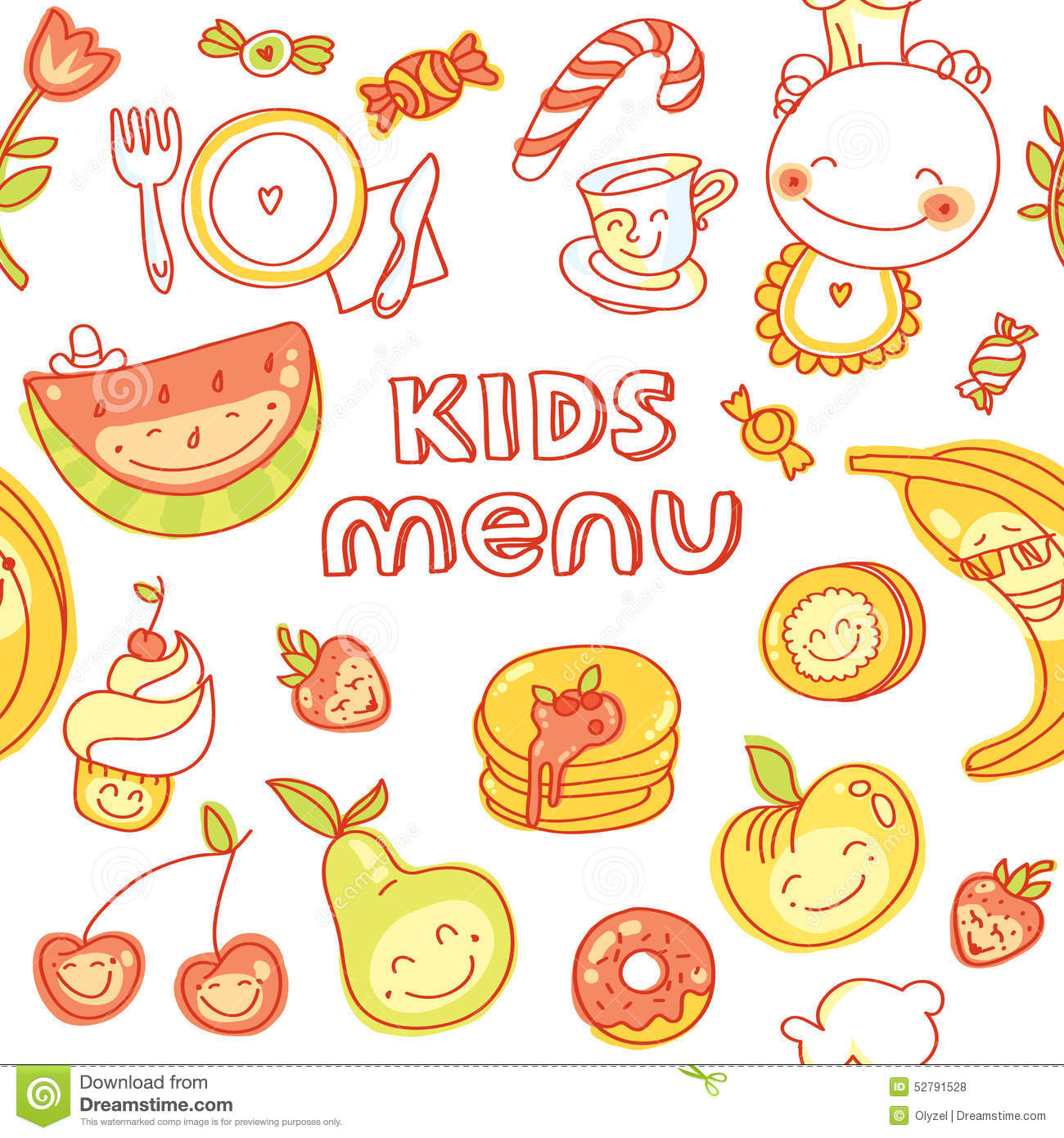 Child And Baby Food Kids Menu With Colorful Stock Vector Image 52791528