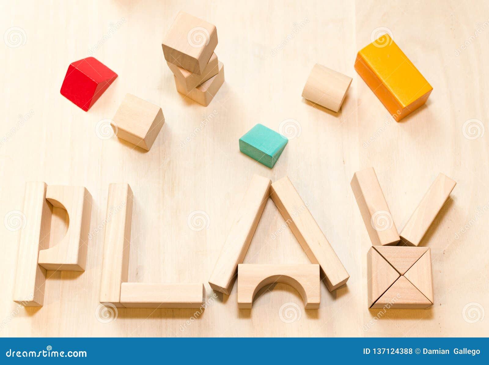 Child or baby play set, toy wooden blocks. Kindergarten or preschool background