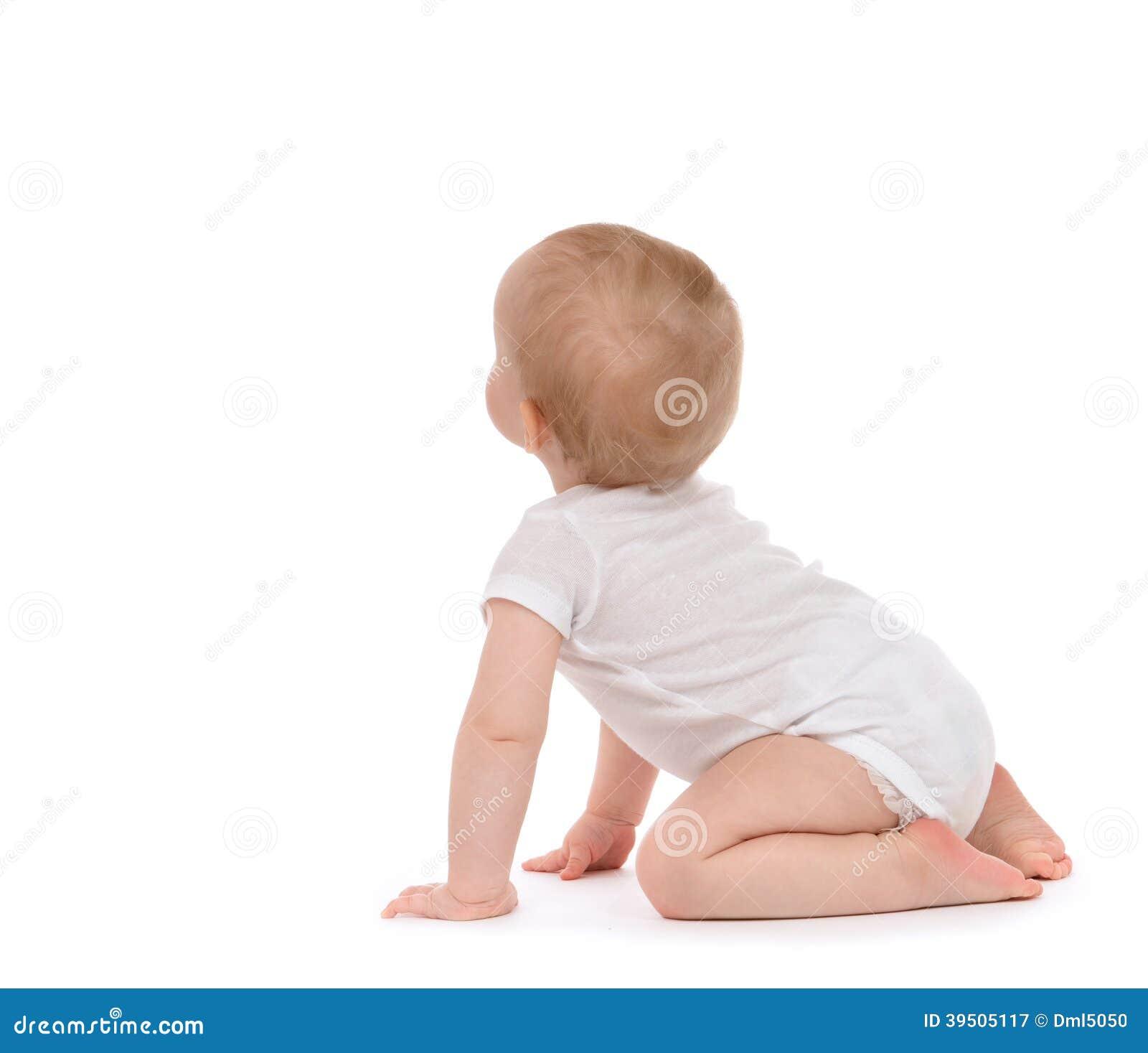 Child baby toddler sitting facing backwards back rear view