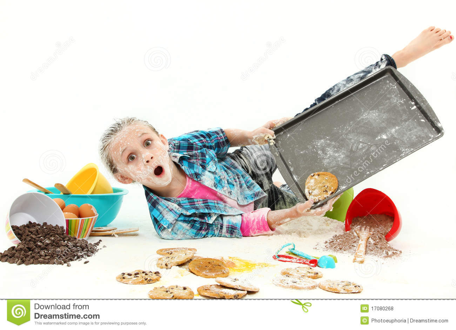 Child Baking Cookies Mess Royalty Free Stock Photos