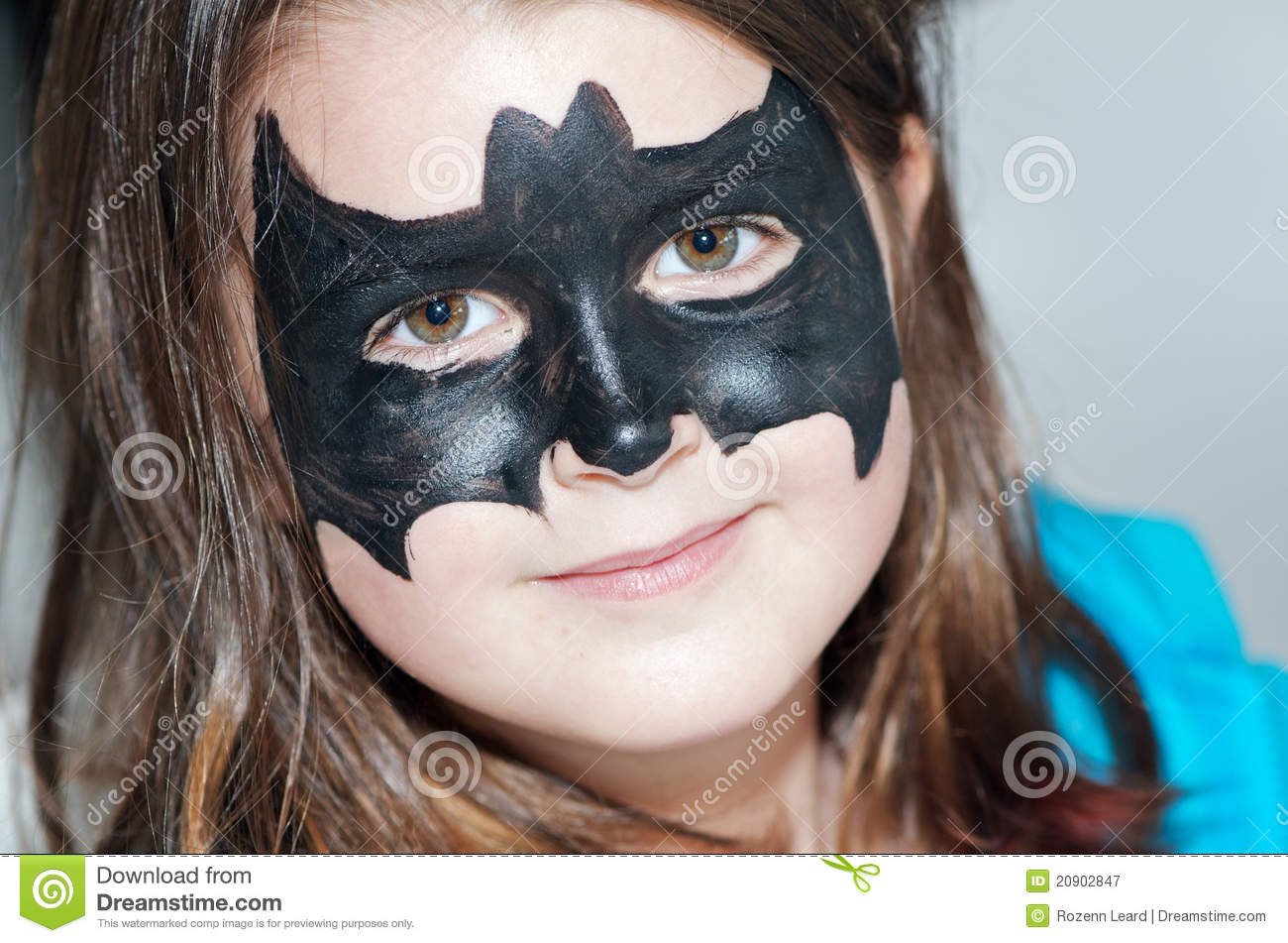 Child With Bat Face Painting Stock Image Image Of Halloween