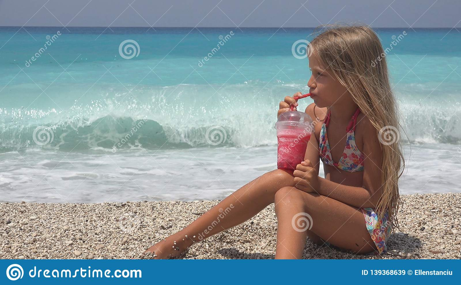 Child on Beach, Kid Portrait Drinking Juice,Thirsty Girl Face View on Seashore