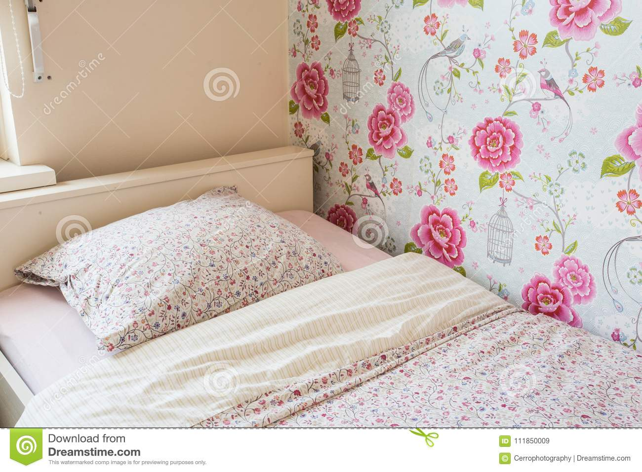 Picture of: Child Bed Girls Room Pink Colors Stock Image Image Of Floor Background 111850009