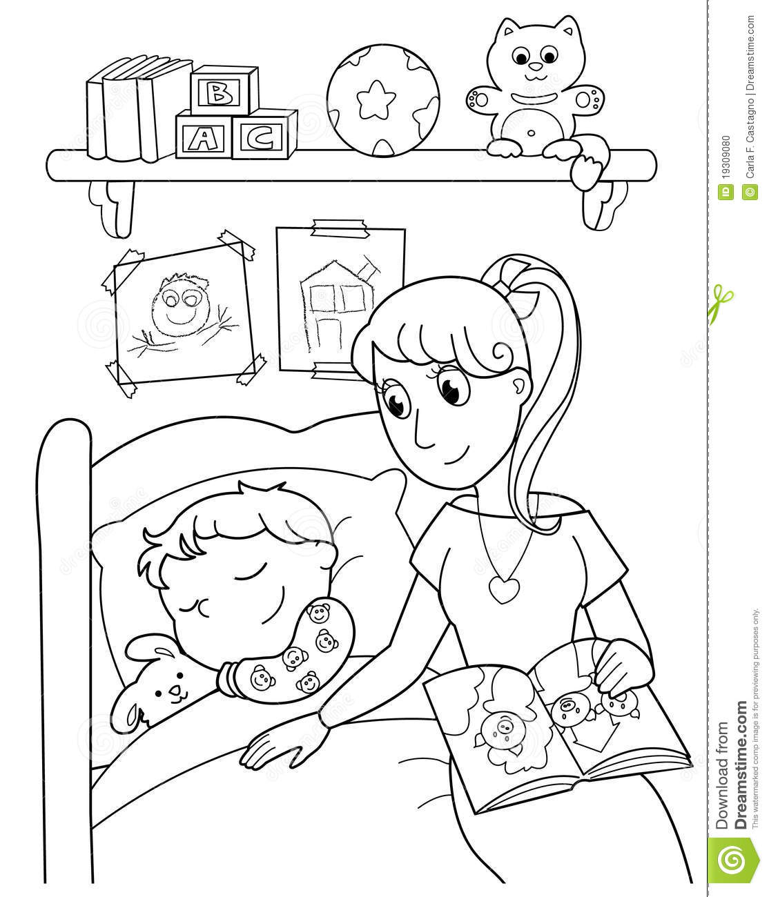 Child At Bed With Mom Stock Vector. Image Of Cartoon